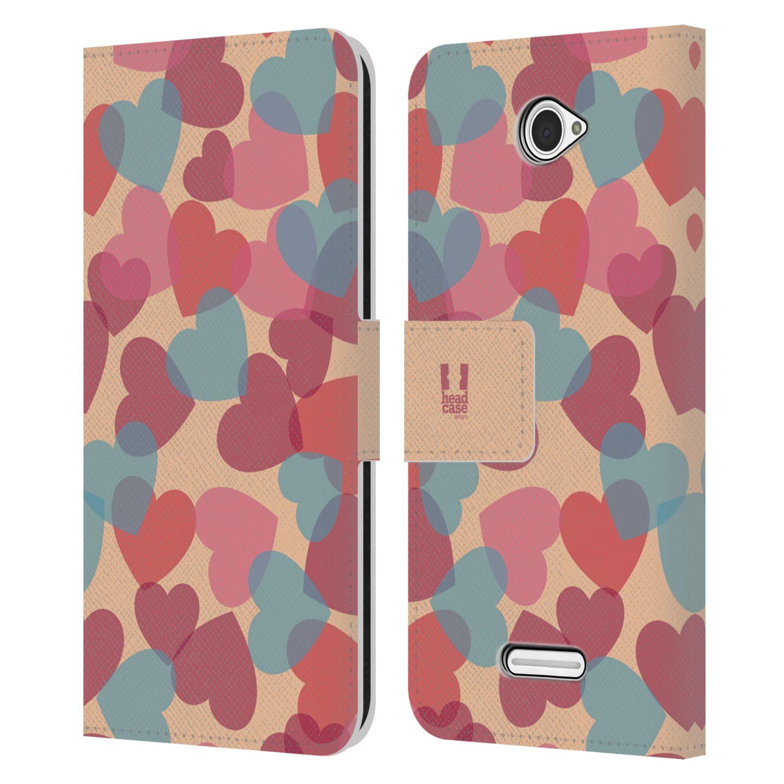 HEAD CASE Flipové pouzdro pro mobil SONY XPERIA E4 vzor prolínající se srdíčka, srdce, láska, růžová