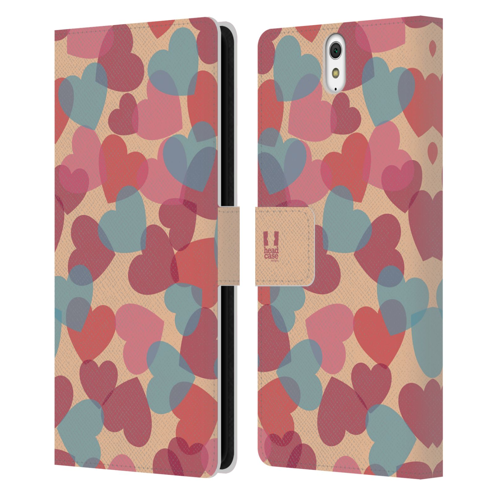HEAD CASE Flipové pouzdro pro mobil SONY XPERIA C5 Ultra vzor prolínající se srdíčka, srdce, láska, růžová