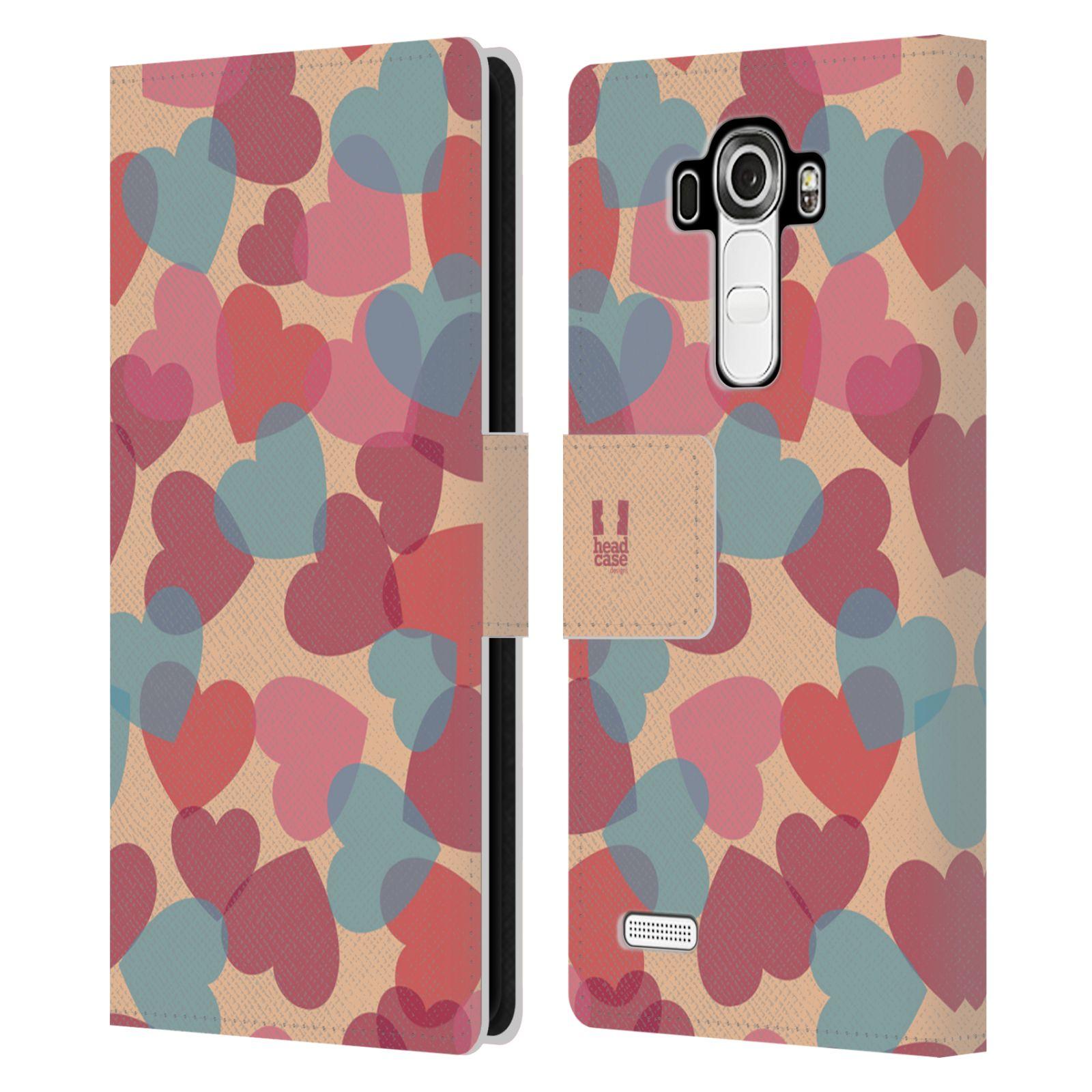 HEAD CASE Flipové pouzdro pro mobil LG G4 (H815) vzor prolínající se srdíčka, srdce, láska, růžová