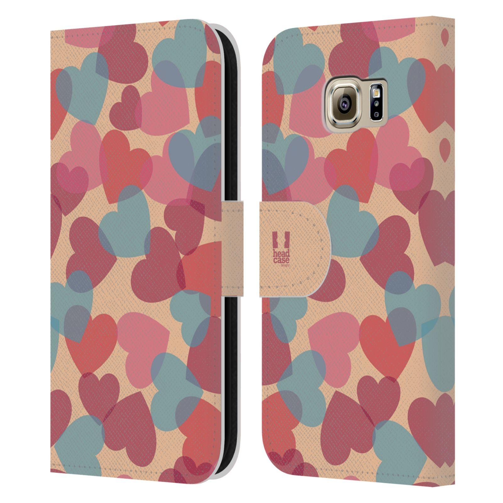 HEAD CASE Flipové pouzdro pro mobil Samsung Galaxy S6 (G9200) vzor prolínající se srdíčka, srdce, láska, růžová