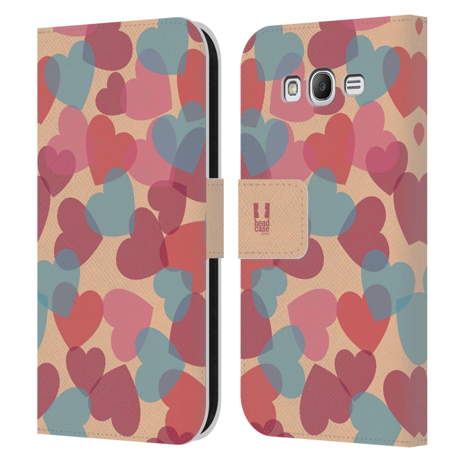 HEAD CASE Flipové pouzdro pro mobil Samsung Galaxy Grand i9080 vzor prolínající se srdíčka, srdce, láska, růžová