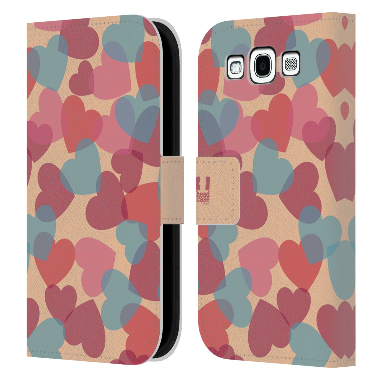 HEAD CASE Flipové pouzdro pro mobil Samsung Galaxy S3 vzor prolínající se srdíčka, srdce, láska, růžová
