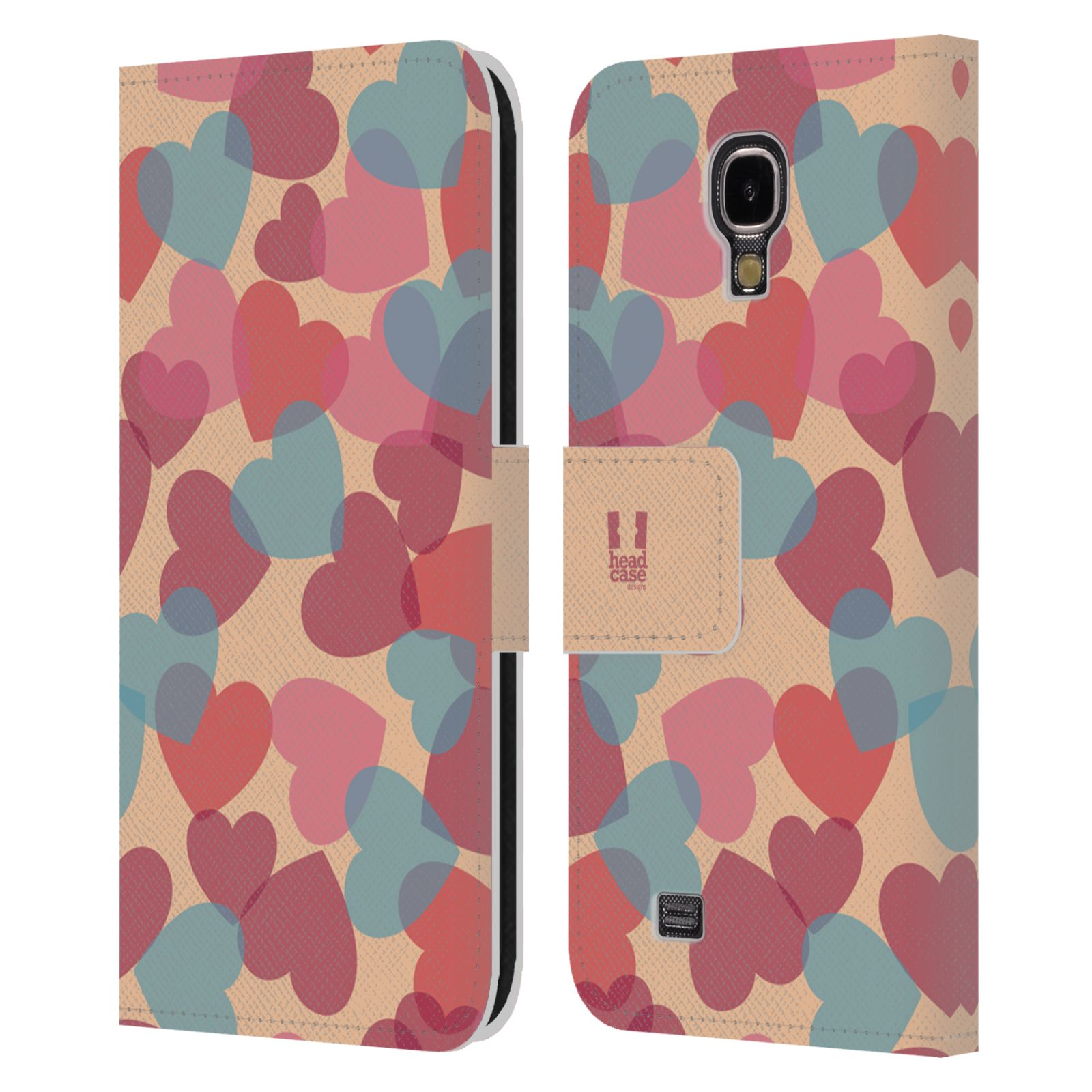 HEAD CASE Flipové pouzdro pro mobil Samsung Galaxy S4 vzor prolínající se srdíčka, srdce, láska, růžová