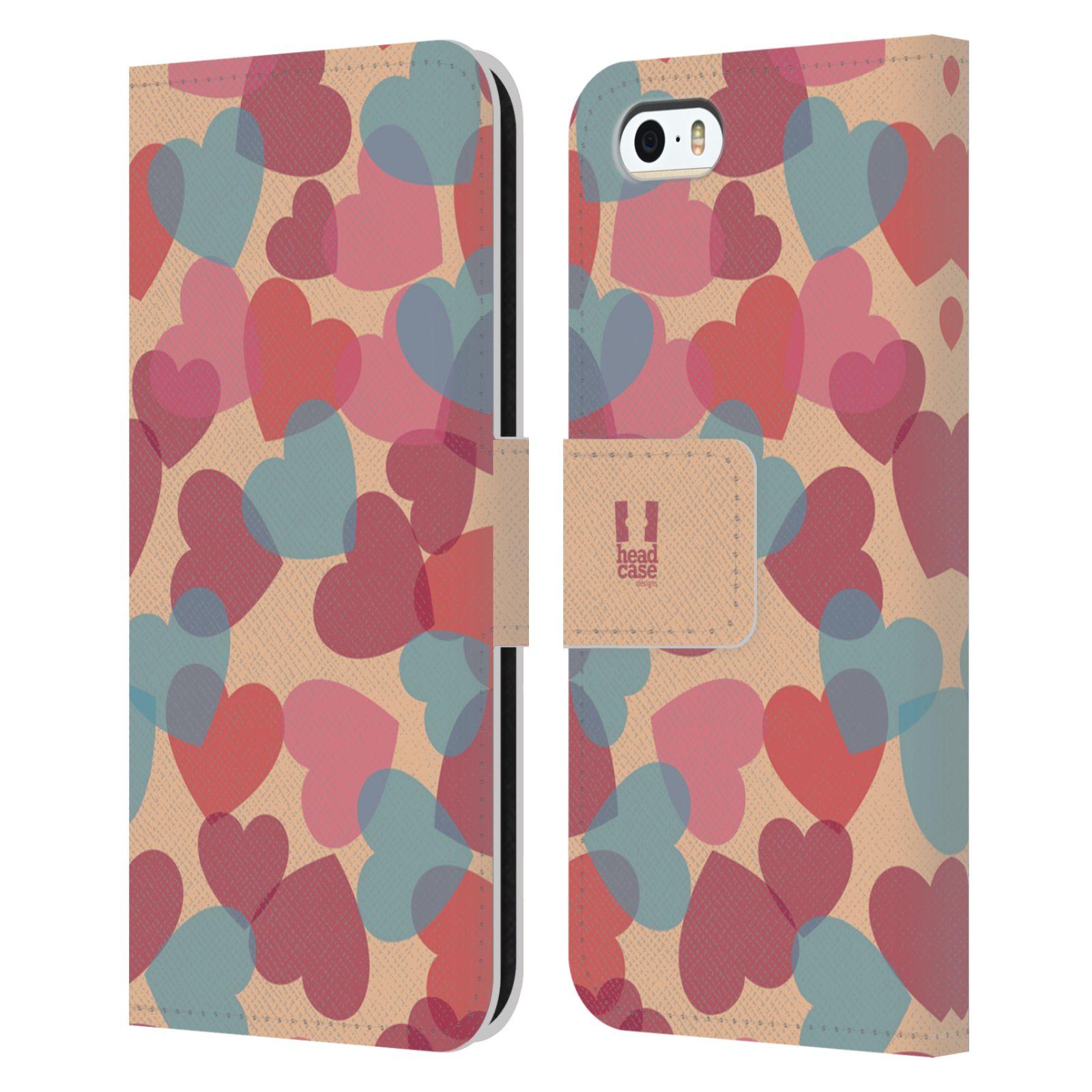 HEAD CASE Flipové pouzdro pro mobil Apple Iphone 5/5s vzor prolínající se srdíčka, srdce, láska, růžová