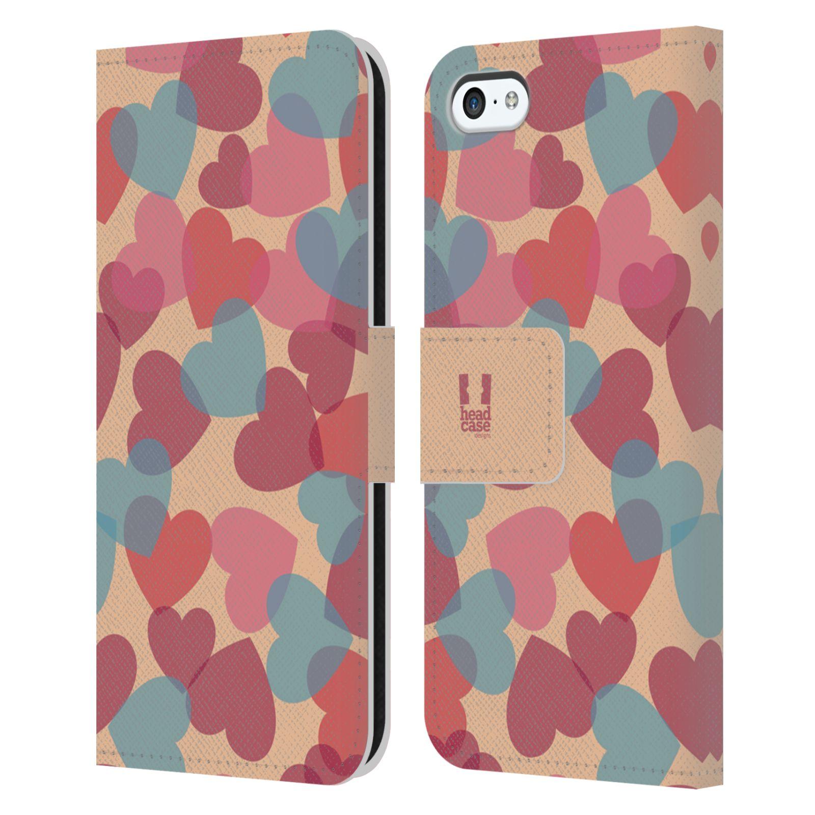 HEAD CASE Flipové pouzdro pro mobil Apple Iphone 5C vzor prolínající se srdíčka, srdce, láska, růžová