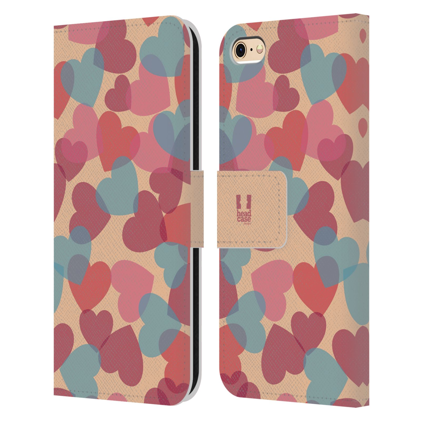 HEAD CASE Flipové pouzdro pro mobil Apple Iphone 6/6s vzor prolínající se srdíčka, srdce, láska, růžová