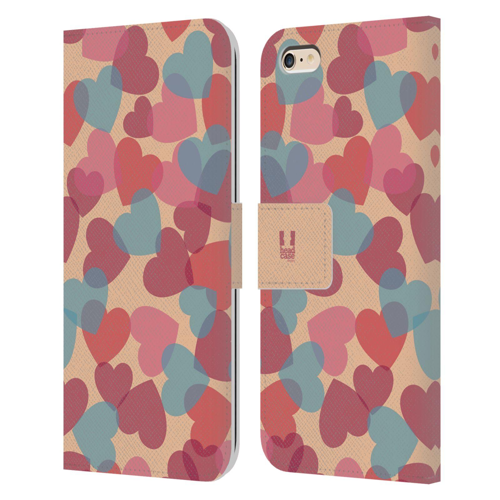 HEAD CASE Flipové pouzdro pro mobil Apple Iphone 6 PLUS / 6S PLUS vzor prolínající se srdíčka, srdce, láska, růžová