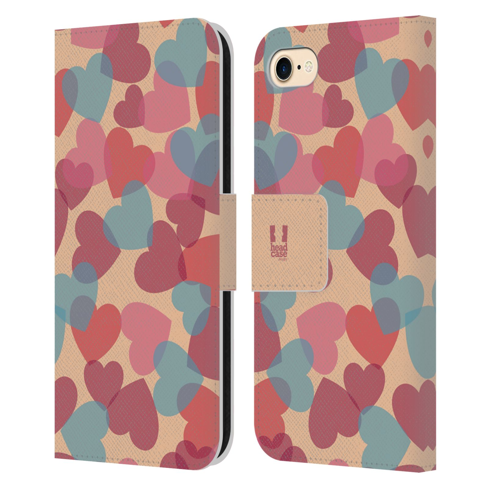 HEAD CASE Flipové pouzdro pro mobil Apple Iphone 7/8 vzor prolínající se srdíčka, srdce, láska, růžová