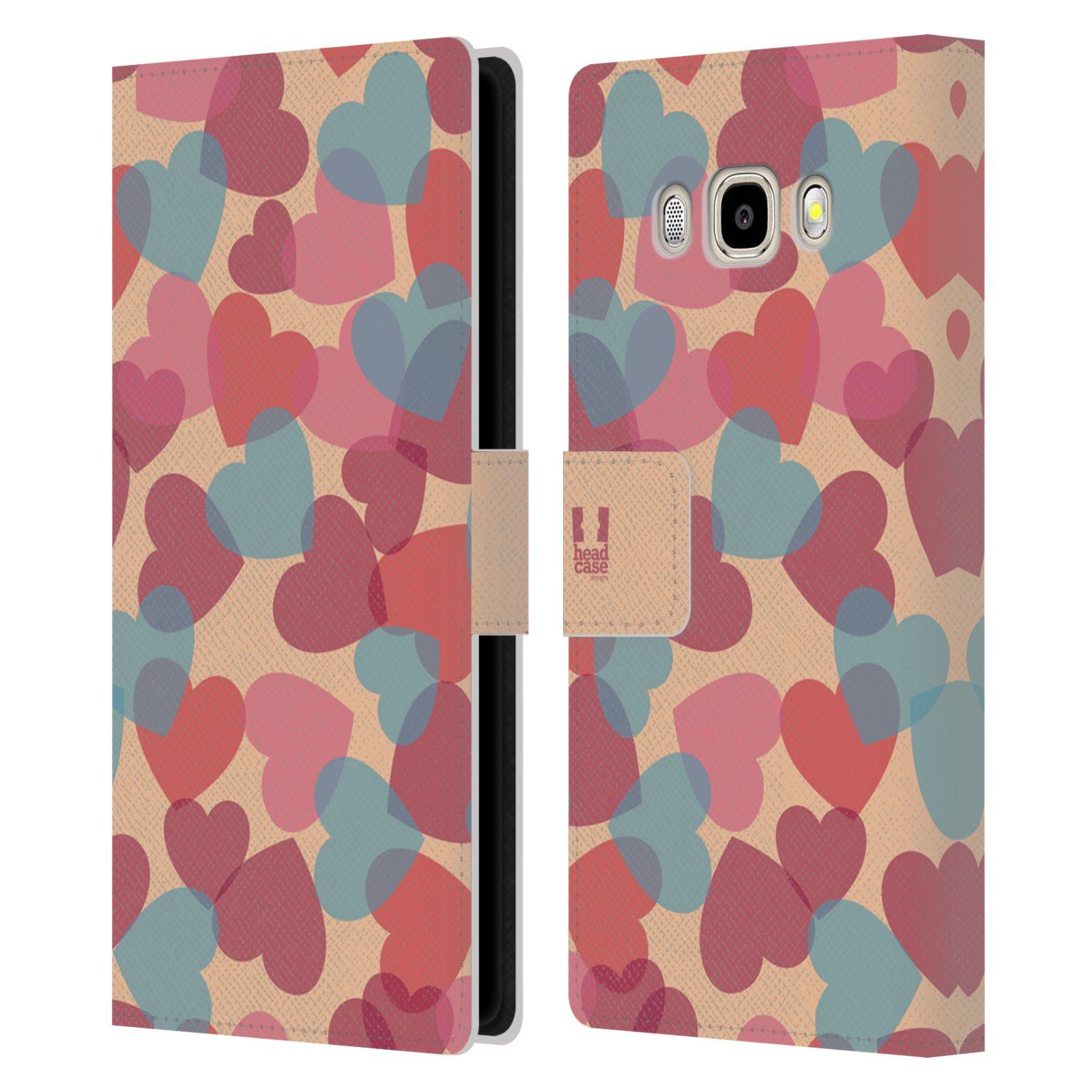 HEAD CASE Flipové pouzdro pro mobil Samsung Galaxy J5 2016 vzor prolínající se srdíčka, srdce, láska, růžová