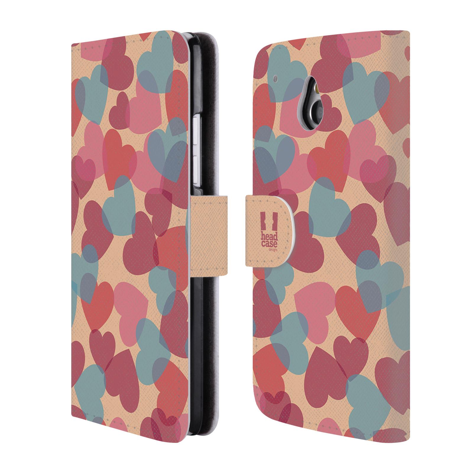 HEAD CASE Flipové pouzdro pro mobil HTC ONE MINI (M4) vzor prolínající se srdíčka, srdce, láska, růžová