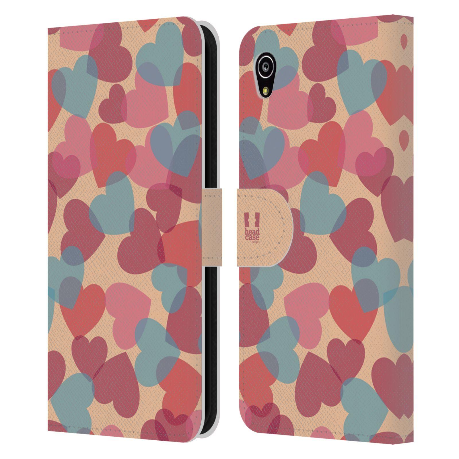 HEAD CASE Flipové pouzdro pro mobil SONY XPERIA M4 AQUA vzor prolínající se srdíčka, srdce, láska, růžová