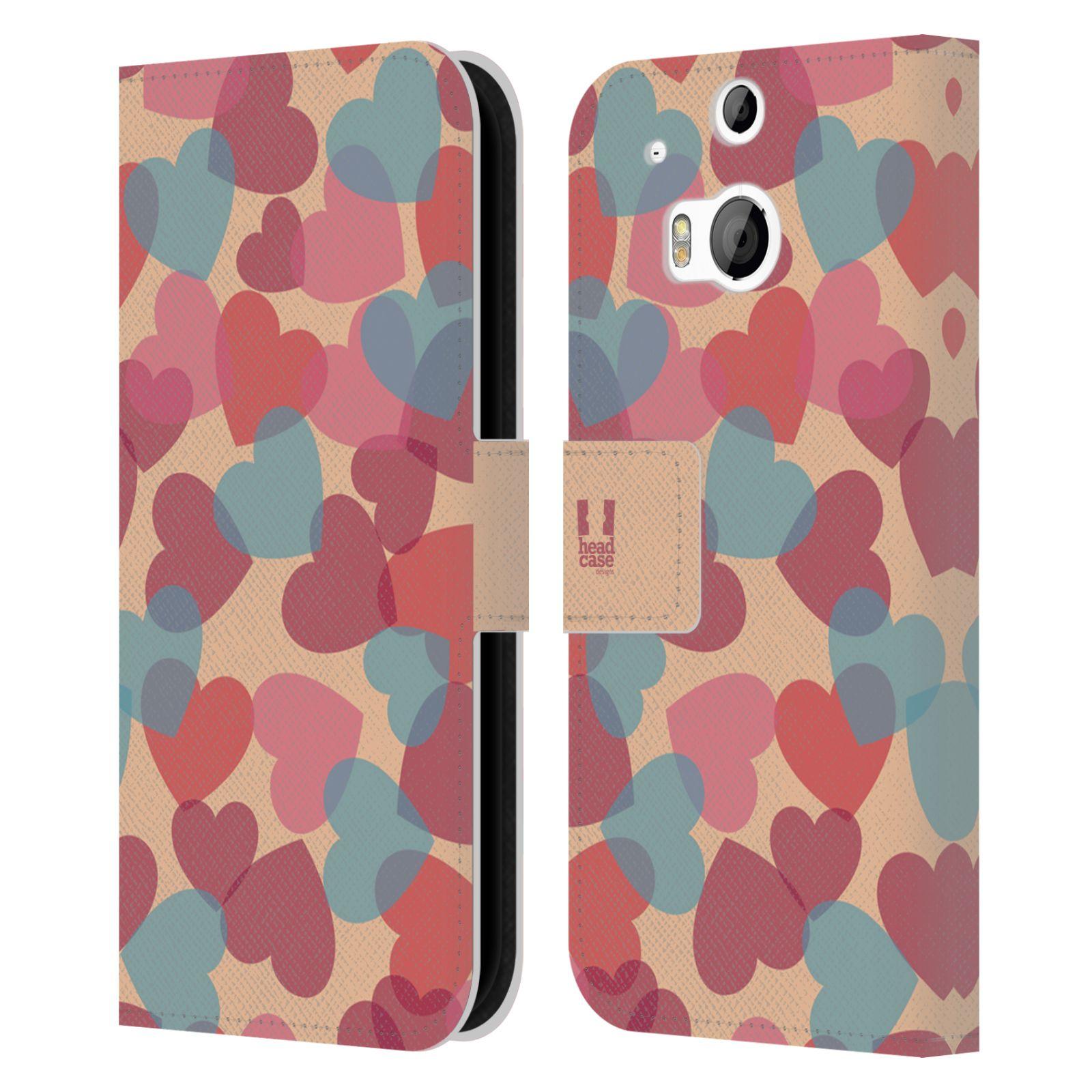 HEAD CASE Flipové pouzdro pro mobil HTC ONE (M8, M8s) vzor prolínající se srdíčka, srdce, láska, růžová
