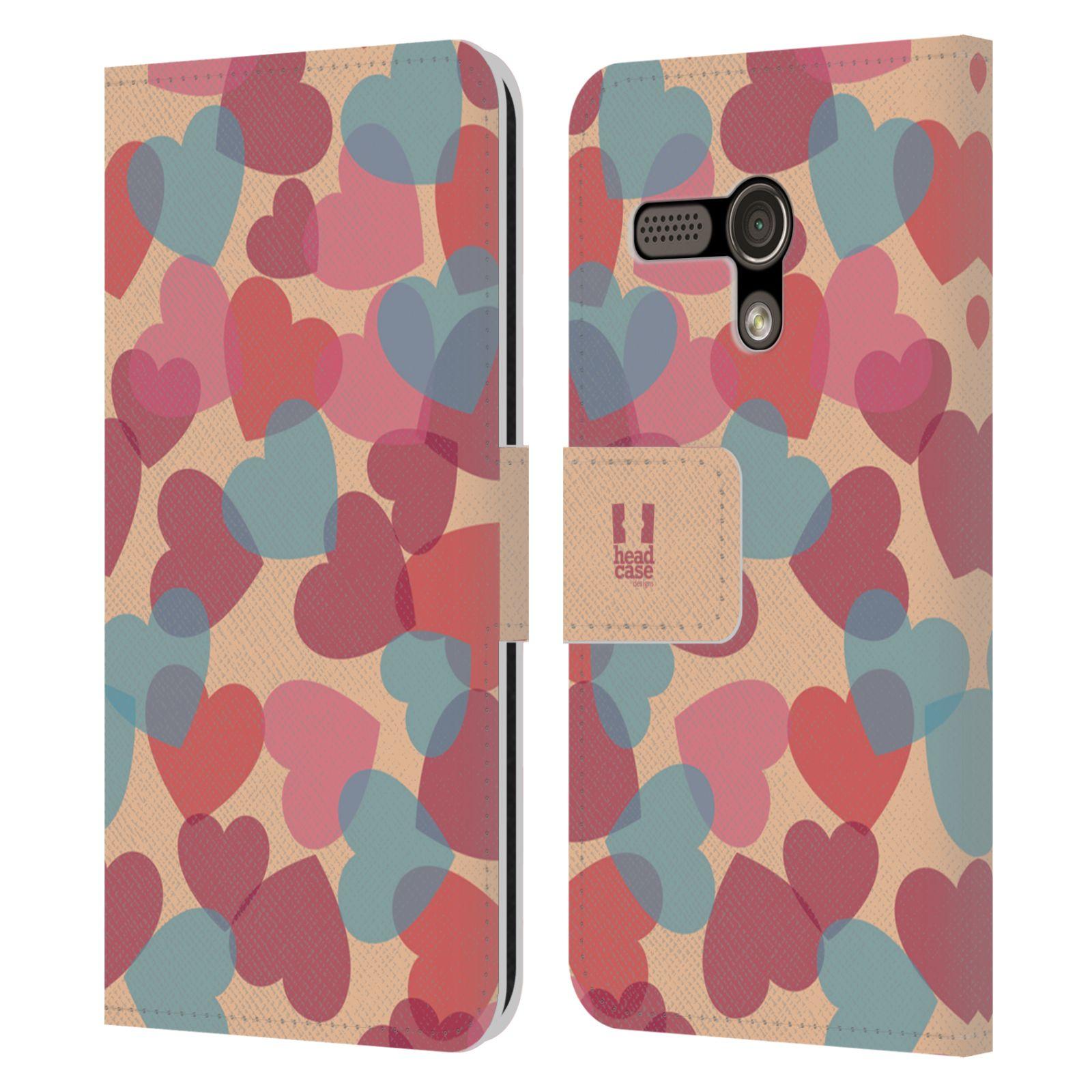 HEAD CASE Flipové pouzdro pro mobil MOTOROLA MOTO G vzor prolínající se srdíčka, srdce, láska, růžová