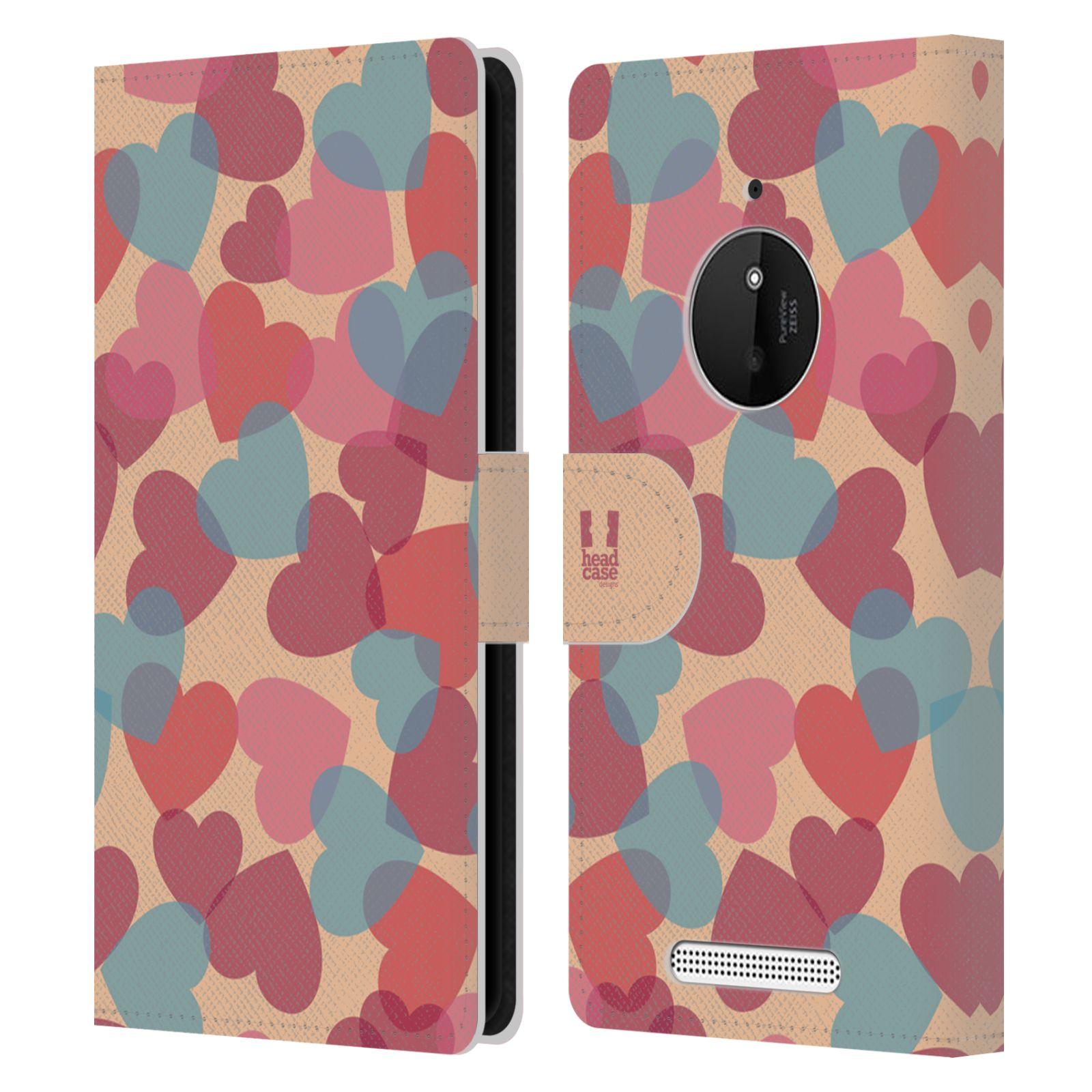 HEAD CASE Flipové pouzdro pro mobil NOKIA LUMIA 830 vzor prolínající se srdíčka, srdce, láska, růžová