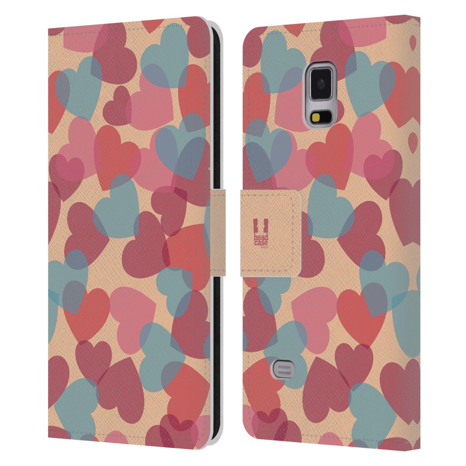 HEAD CASE Flipové pouzdro pro mobil Samsung Galaxy Note 4 vzor prolínající se srdíčka, srdce, láska, růžová