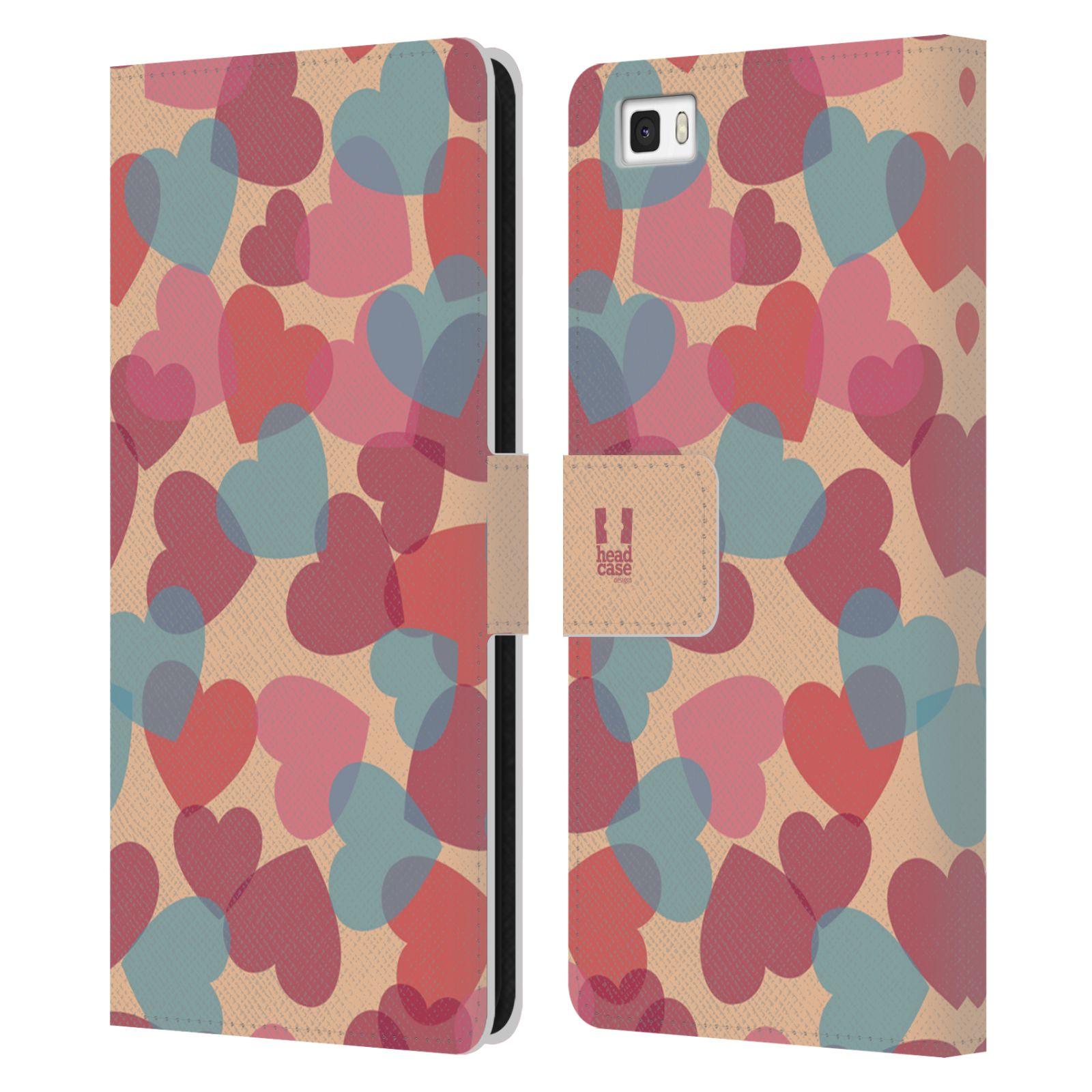 HEAD CASE Flipové pouzdro pro mobil Huawei P8 LITE vzor prolínající se srdíčka, srdce, láska, růžová