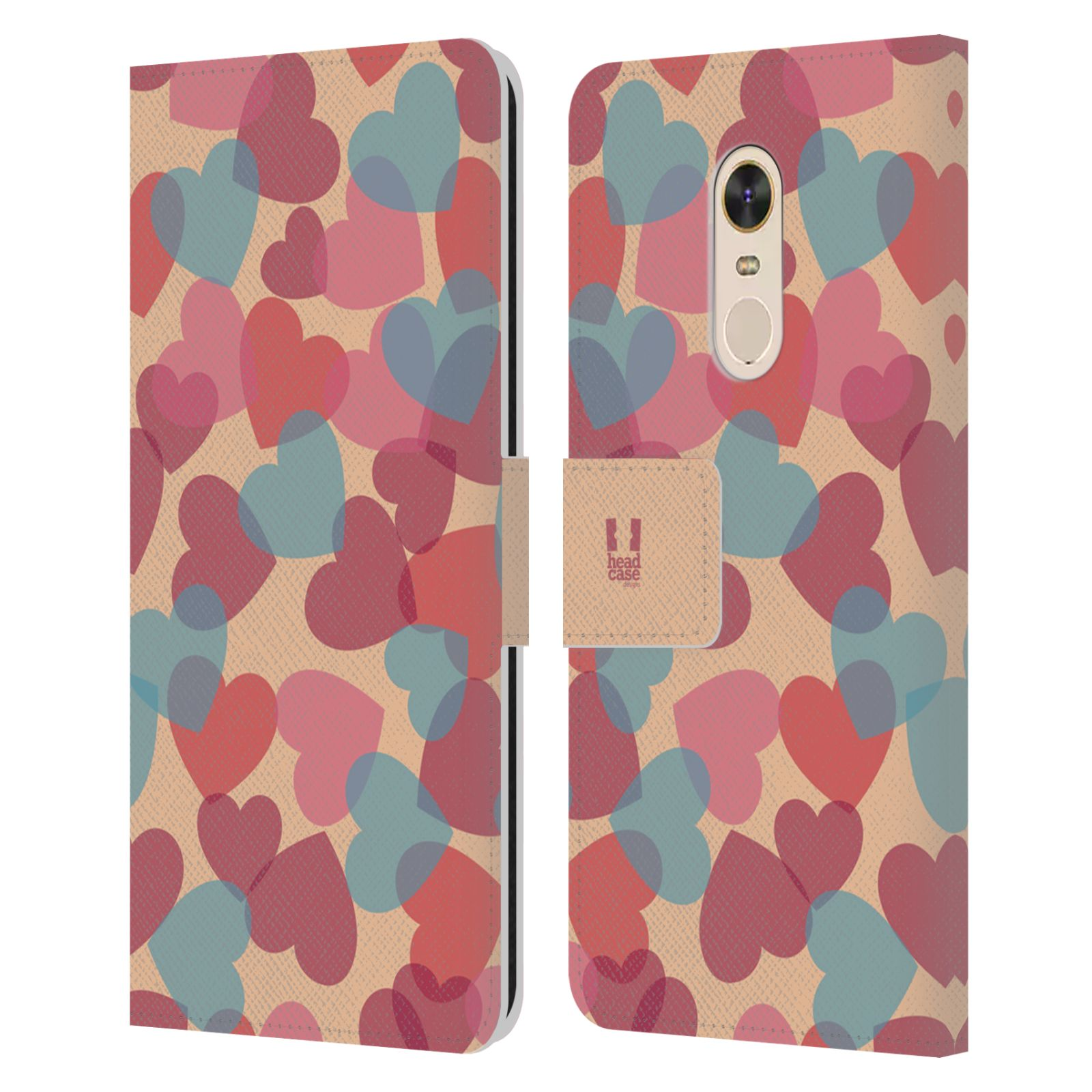 HEAD CASE Flipové pouzdro pro mobil Xiaomi Redmi Note 5 vzor prolínající se srdíčka, srdce, láska, růžová