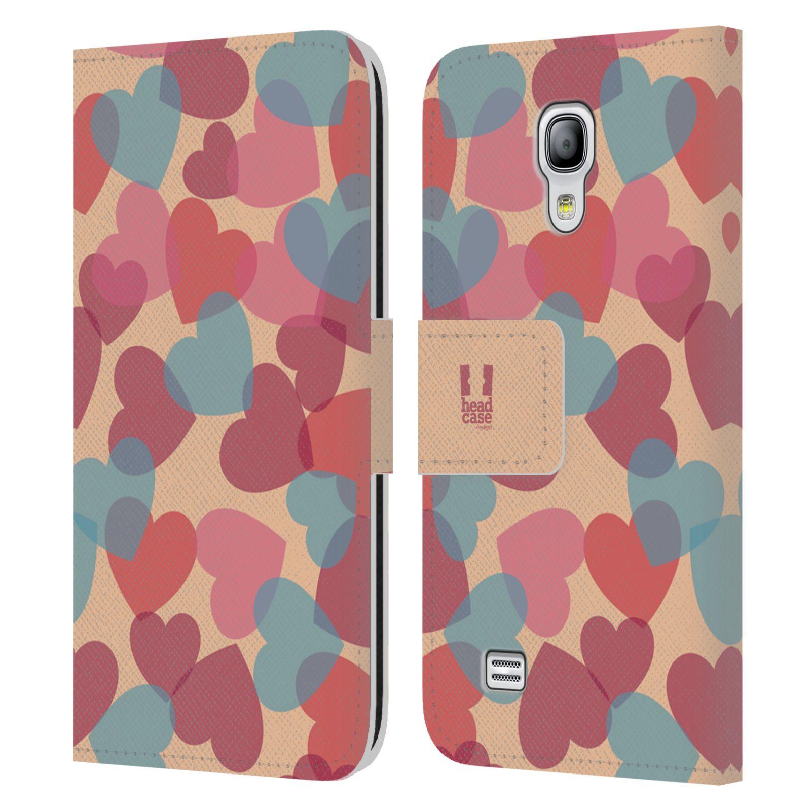HEAD CASE Flipové pouzdro pro mobil Samsung Galaxy S4 MINI / S4 MINI DUOS vzor prolínající se srdíčka, srdce, láska, růžová