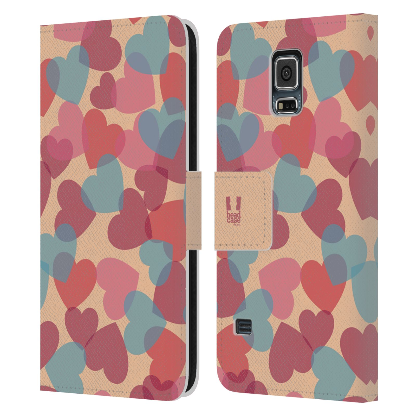 HEAD CASE Flipové pouzdro pro mobil Samsung Galaxy S5 / S5 NEO vzor prolínající se srdíčka, srdce, láska, růžová