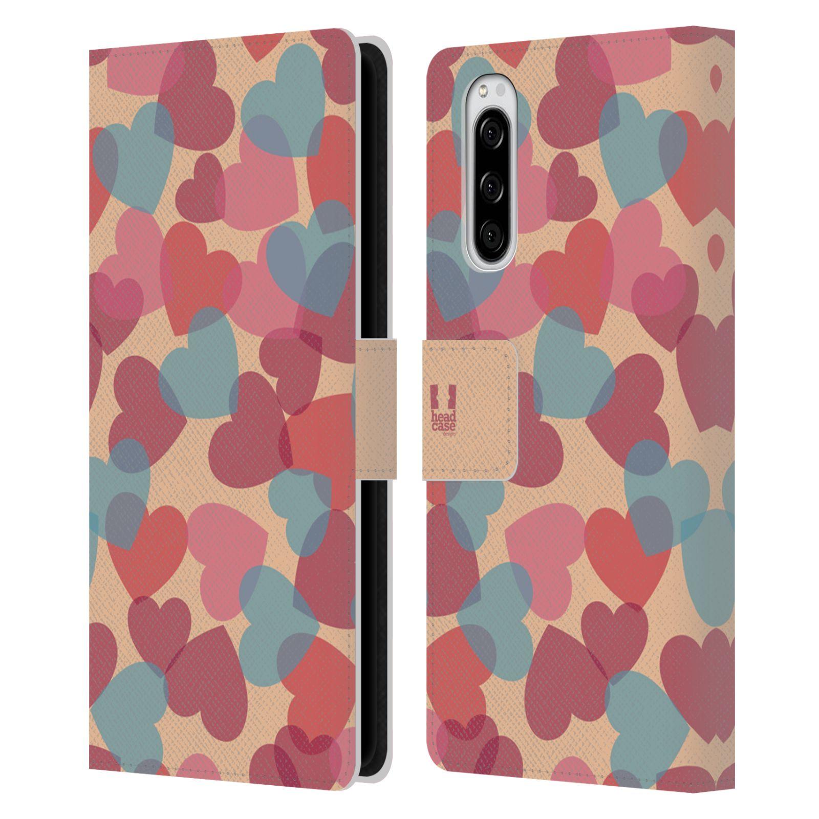 Pouzdro na mobil Sony Xperia 5 vzor prolínající se srdíčka, srdce, láska, růžová