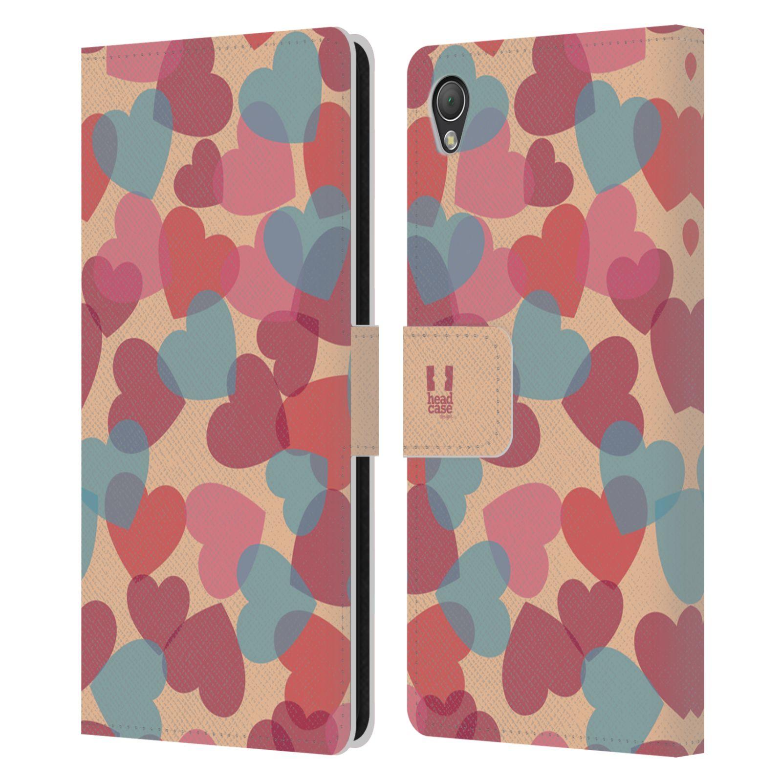 HEAD CASE Flipové pouzdro pro mobil SONY XPERIA Z3 vzor prolínající se srdíčka, srdce, láska, růžová