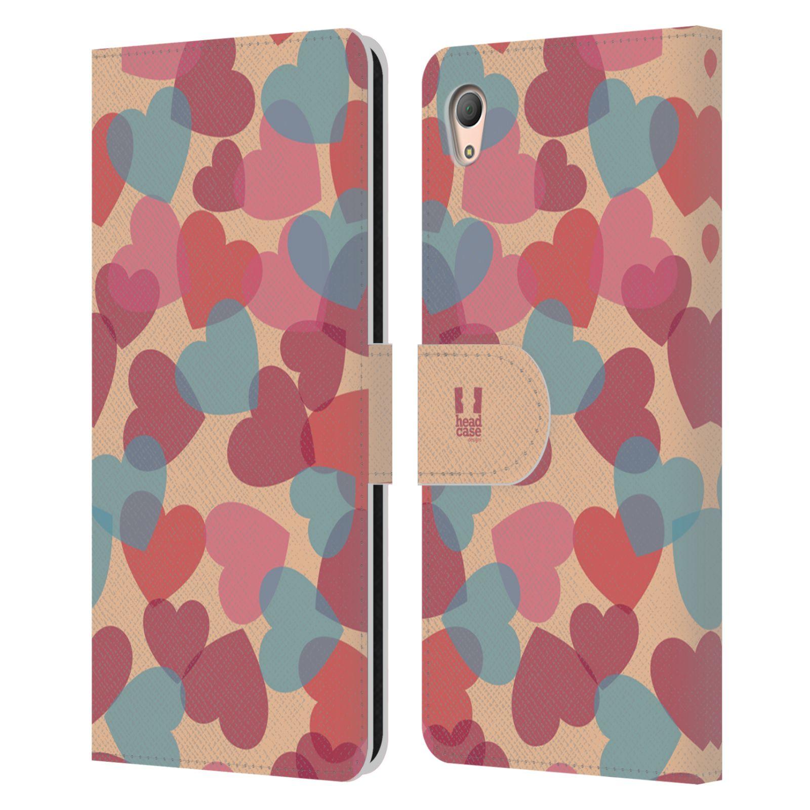 HEAD CASE Flipové pouzdro pro mobil SONY XPERIA Z3+ (PLUS) vzor prolínající se srdíčka, srdce, láska, růžová