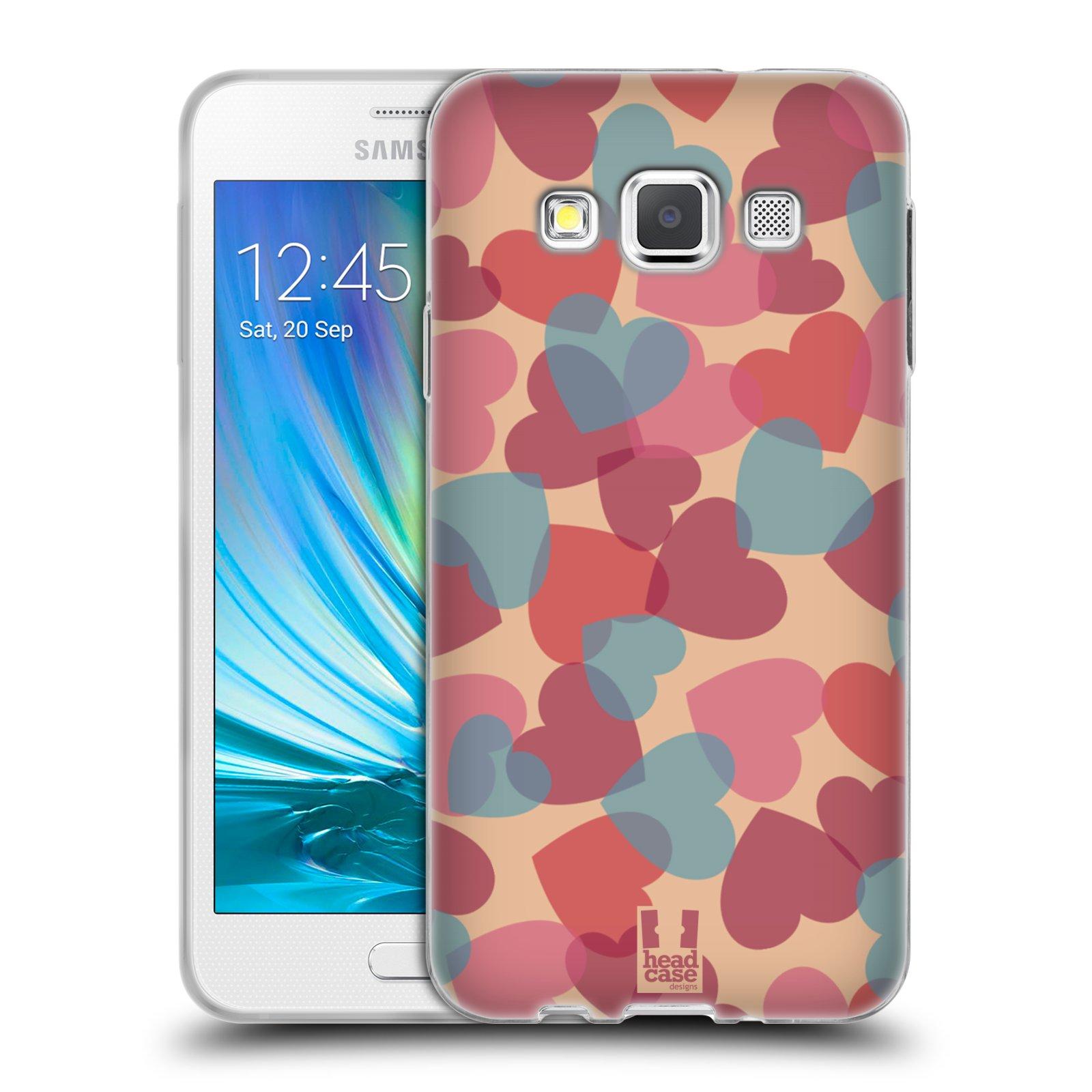 HEAD CASE silikonový obal na mobil Samsung Galaxy A3 vzor Vzorkovaná malba SRDÍČKA RŮŽOVÁ