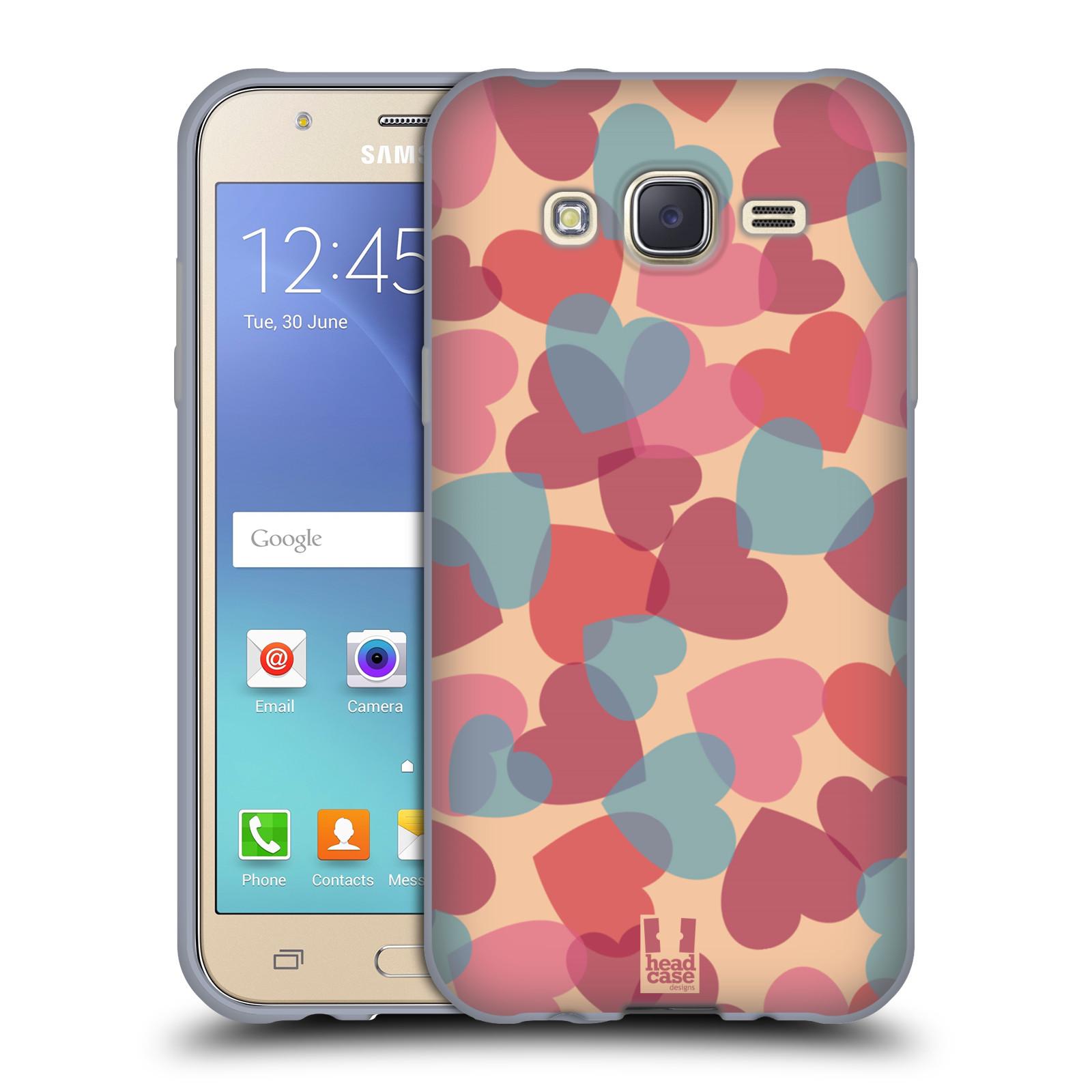 HEAD CASE silikonový obal na mobil Samsung Galaxy J5, J500, (J5 DUOS) vzor Vzorkovaná malba SRDÍČKA RŮŽOVÁ