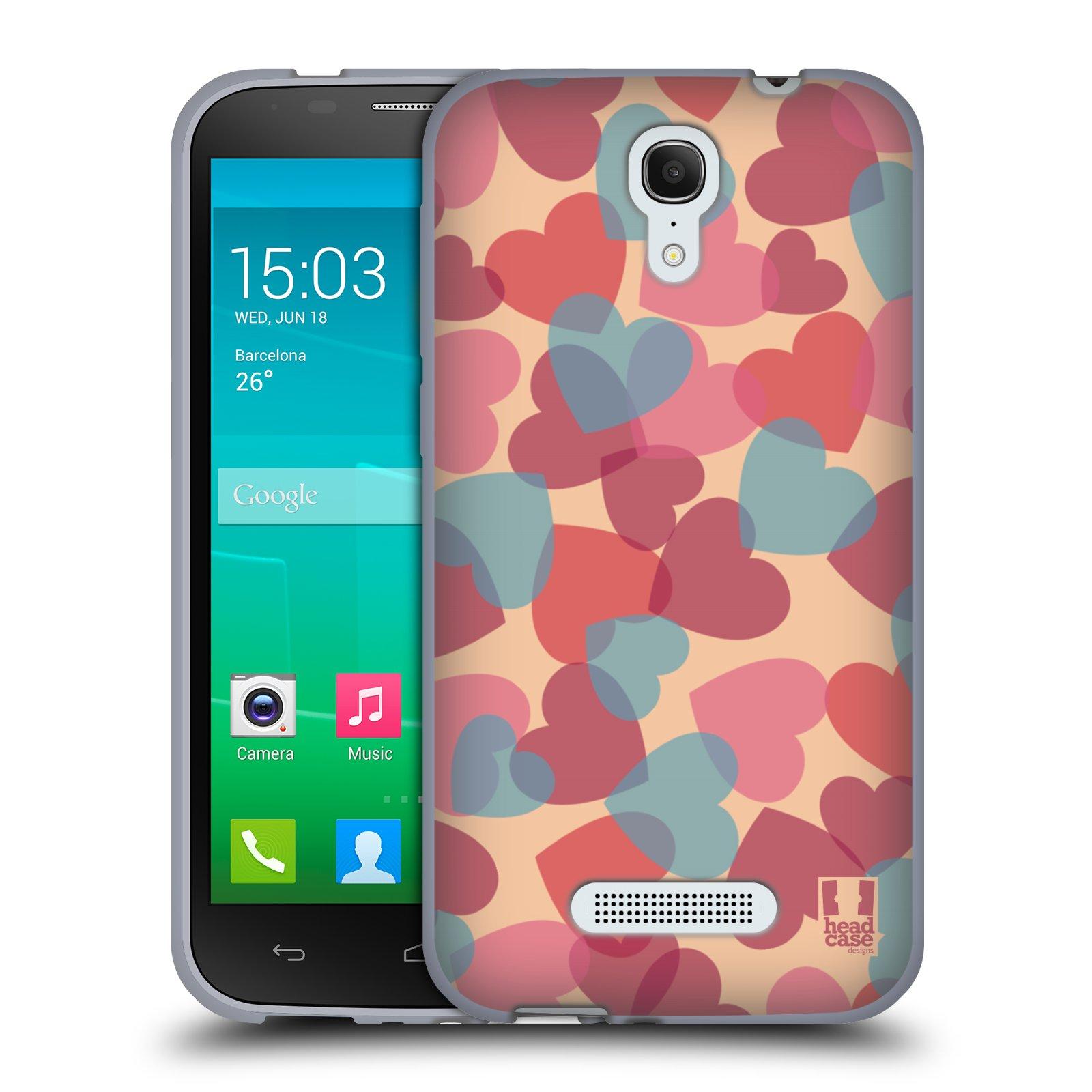 HEAD CASE silikonový obal na mobil Alcatel POP S7 vzor Vzorkovaná malba SRDÍČKA RŮŽOVÁ