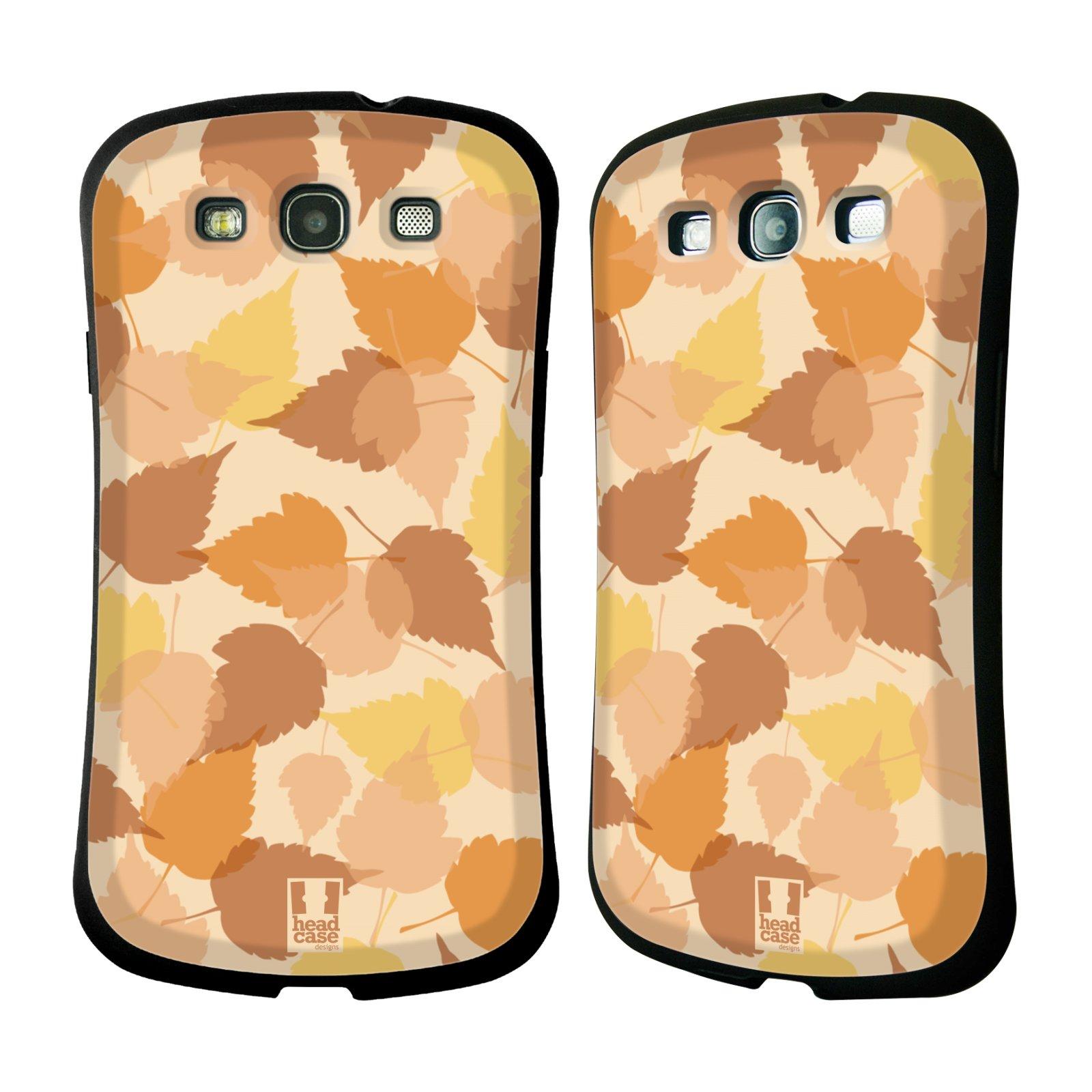 HEAD CASE silikon/plast odolný obal na mobil Samsung Galaxy S3 vzor Vzorkovaná malba LISTY HNĚDÁ
