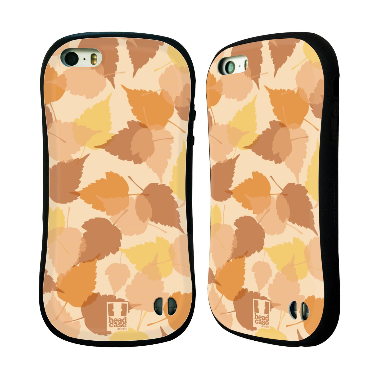 HEAD CASE silikon/plast odolný obal na mobil Apple Iphone 5/5S vzor Vzorkovaná malba LISTY HNĚDÁ