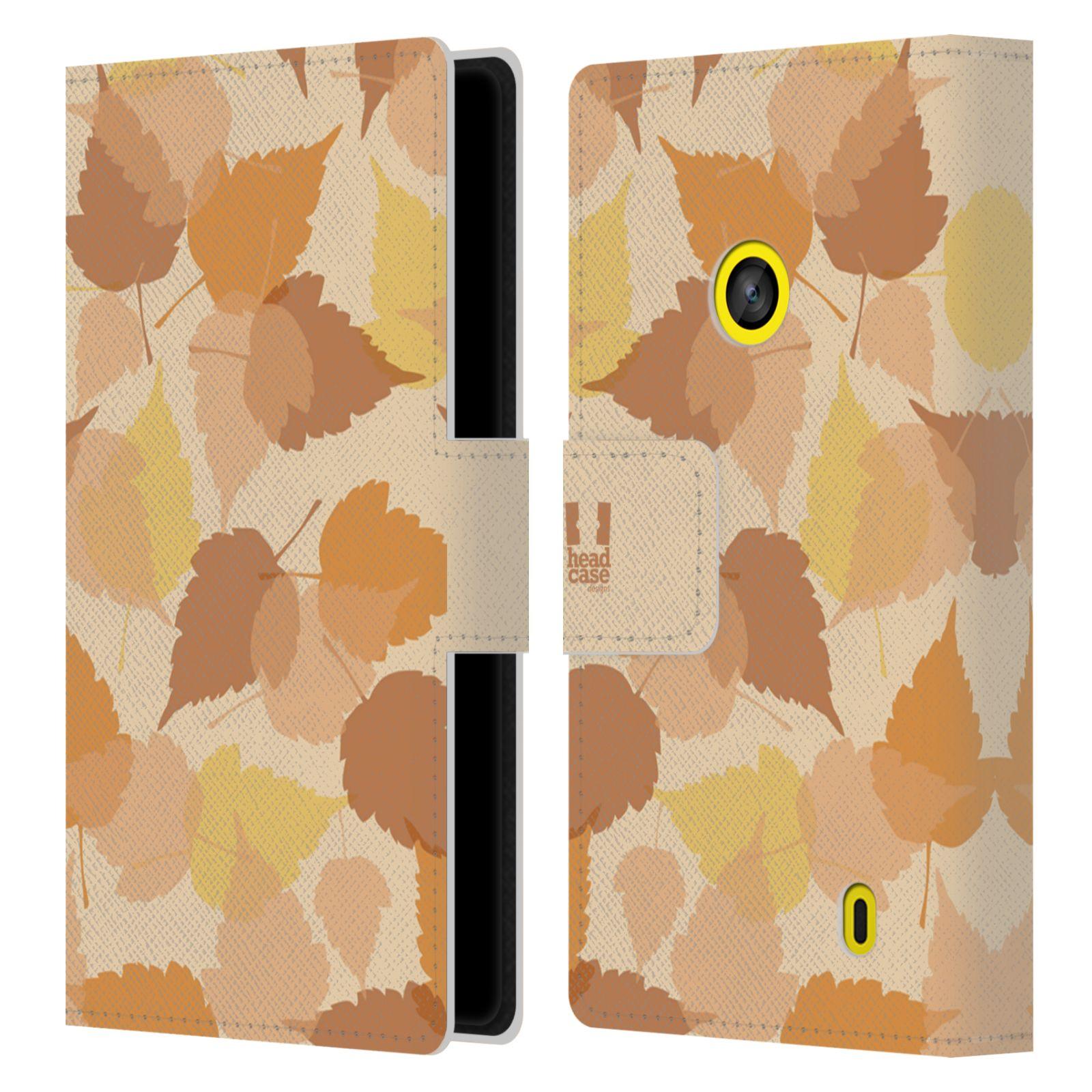 HEAD CASE Flipové pouzdro pro mobil NOKIA LUMIA 520 / 525 vzor prolínající se listy podzim