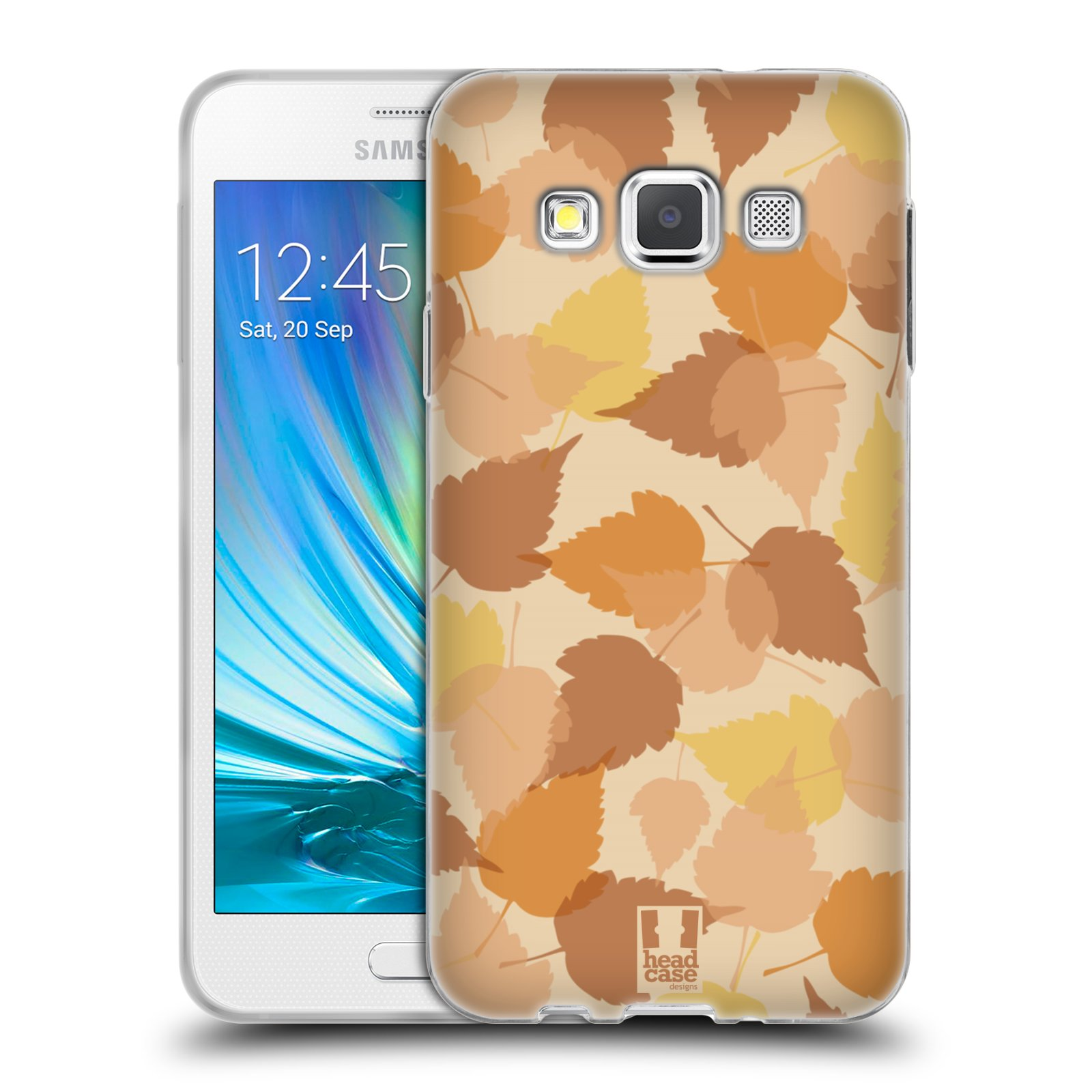 HEAD CASE silikonový obal na mobil Samsung Galaxy A3 vzor Vzorkovaná malba LISTY HNĚDÁ