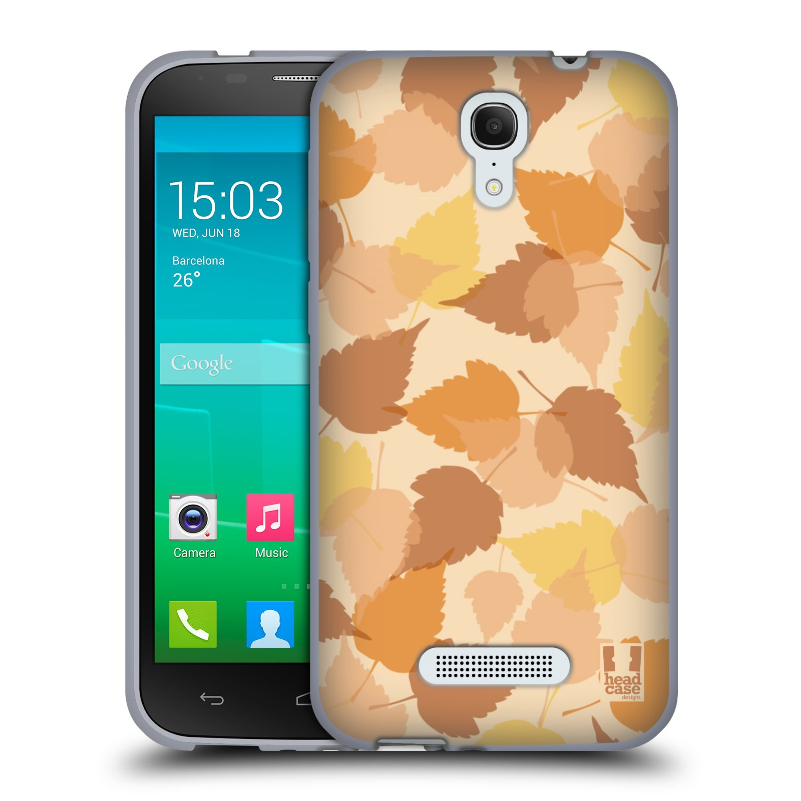 HEAD CASE silikonový obal na mobil Alcatel POP S7 vzor Vzorkovaná malba LISTY HNĚDÁ