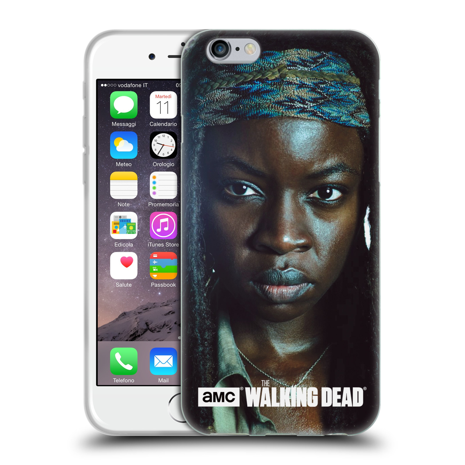HEAD CASE silikonový obal na mobil Apple Iphone 6 / 6S originální potisk Walking Dead postavy Michonne