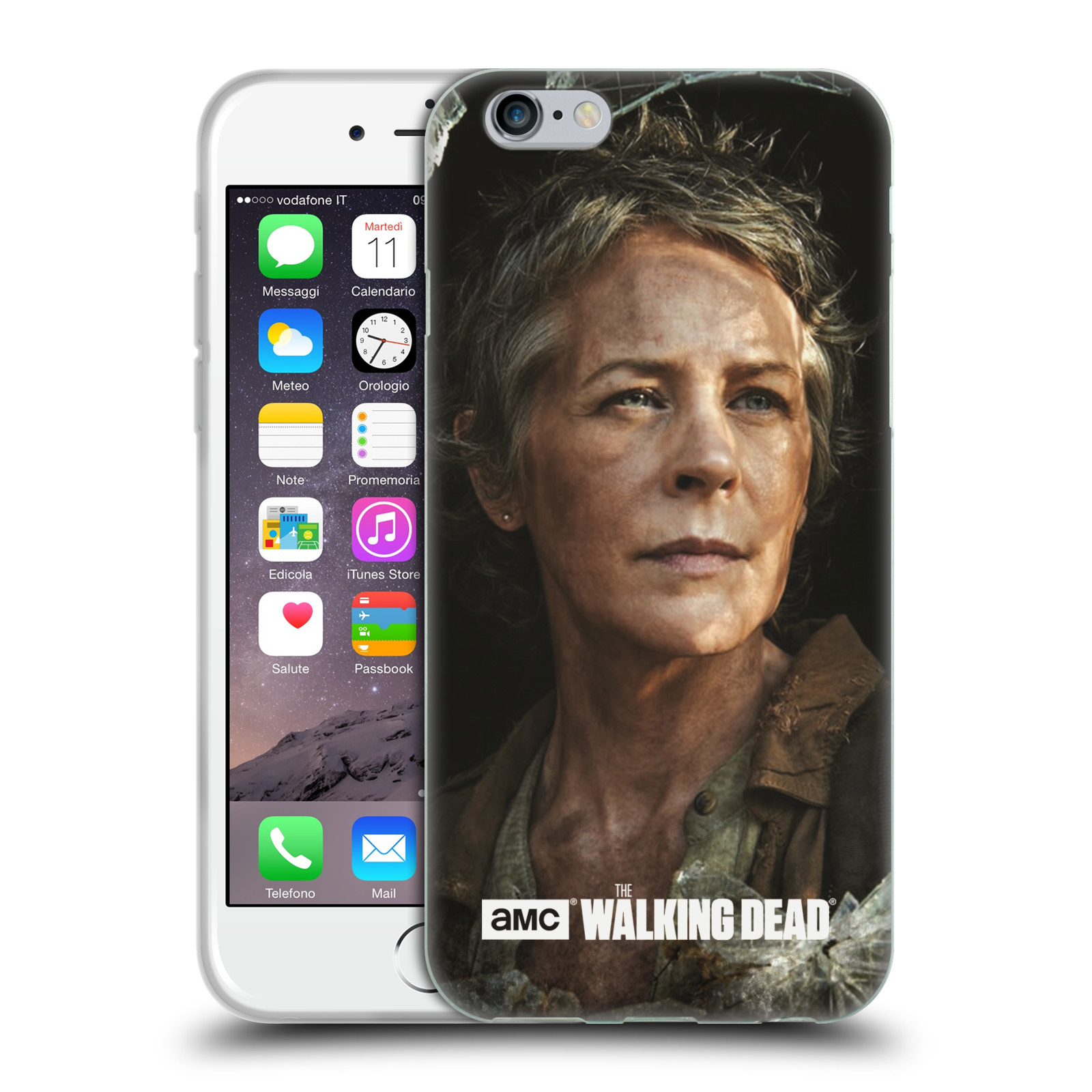 HEAD CASE silikonový obal na mobil Apple Iphone 6 / 6S originální potisk Walking Dead postavy v akci Carol