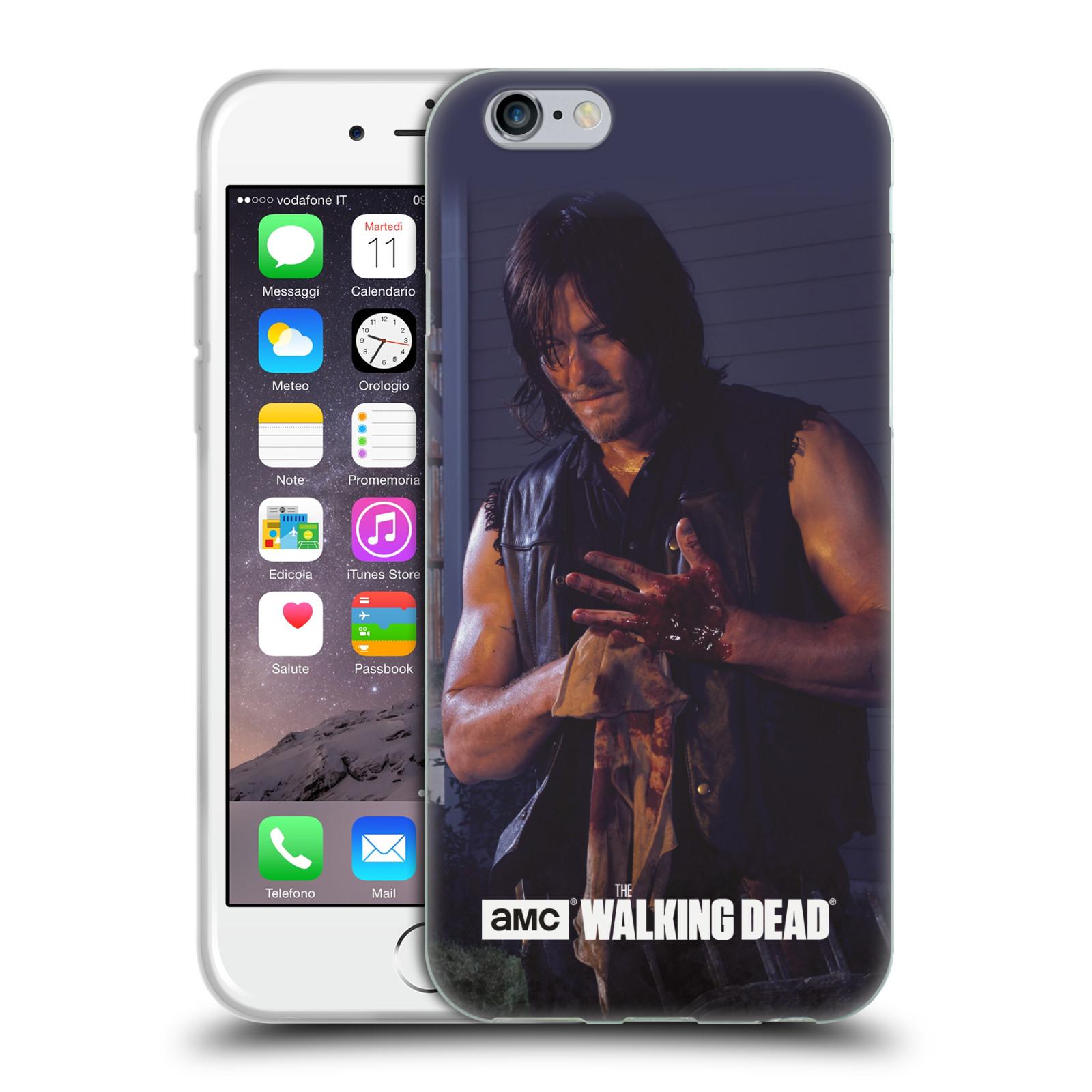 HEAD CASE silikonový obal na mobil Apple Iphone 6 / 6S originální potisk Walking Dead postavy v akci Daryl a zranění