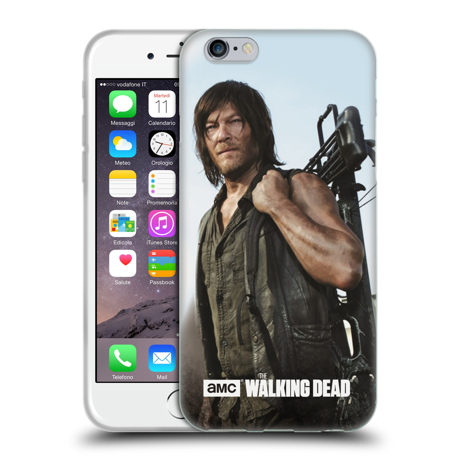 HEAD CASE silikonový obal na mobil Apple Iphone 6 / 6S originální potisk Walking Dead postavy v akci Daryl a samostříl