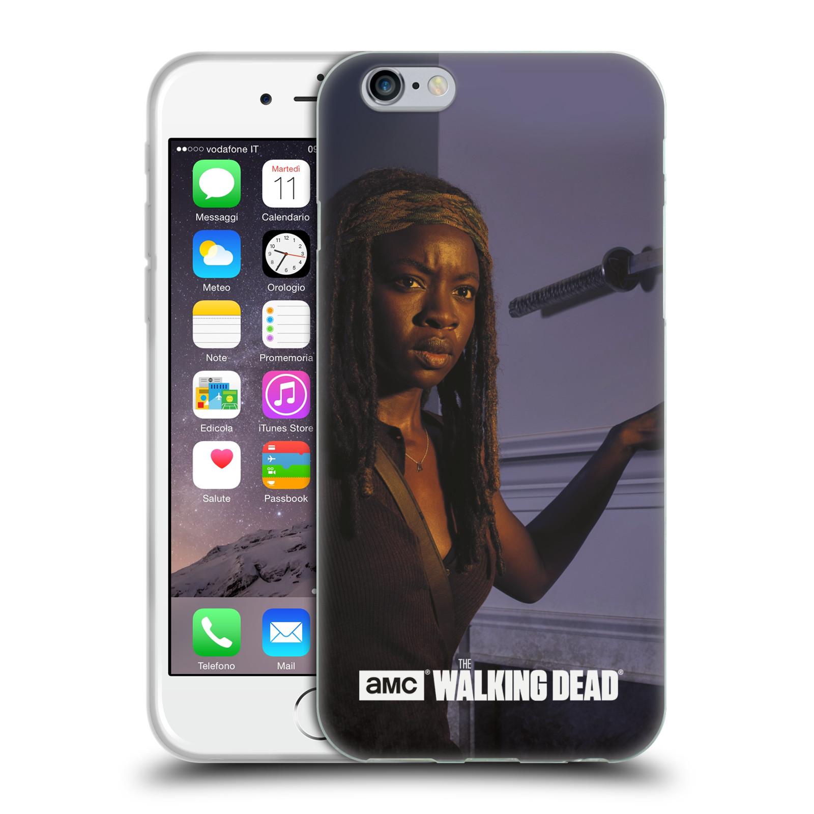 HEAD CASE silikonový obal na mobil Apple Iphone 6 / 6S originální potisk Walking Dead postavy v akci Michonne