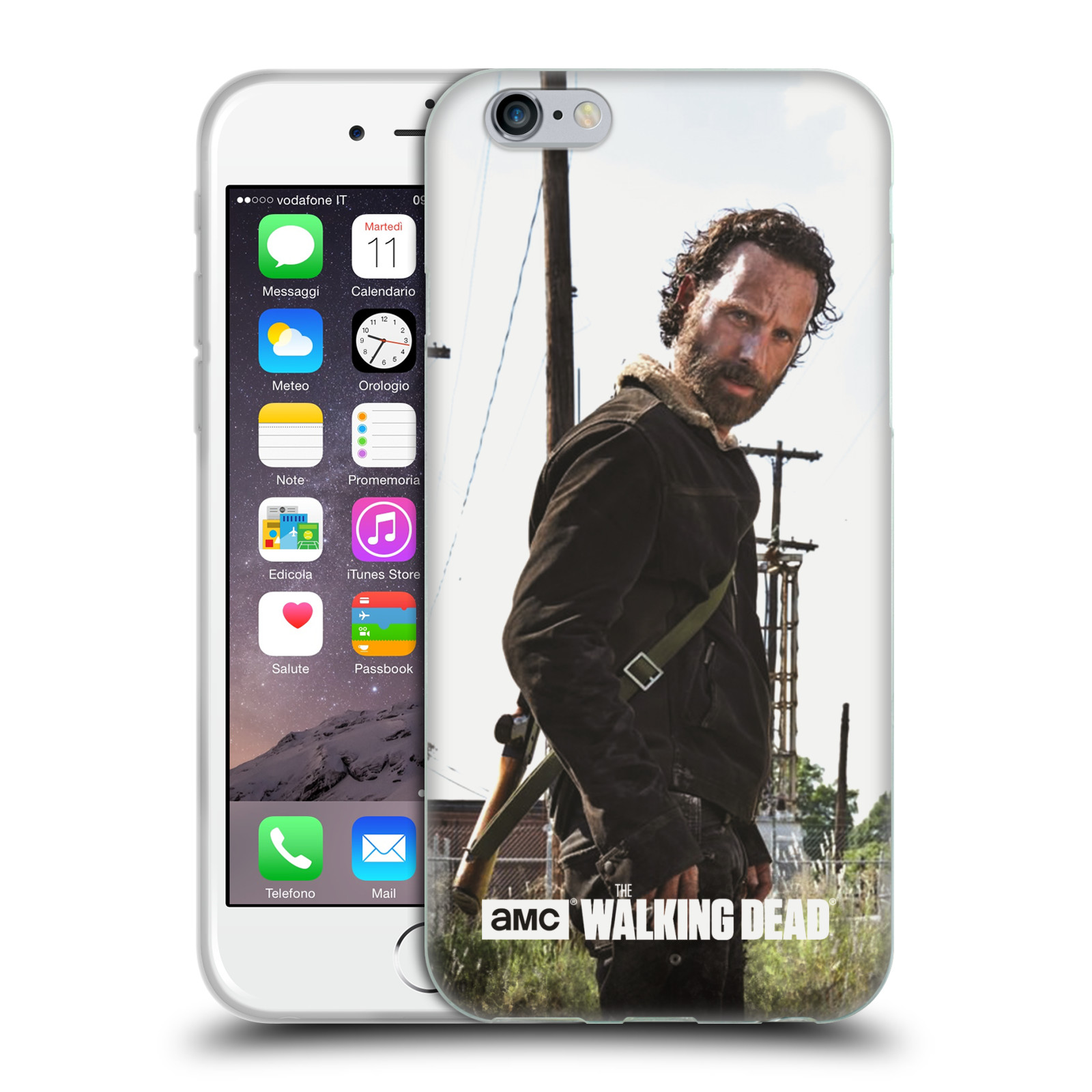 HEAD CASE silikonový obal na mobil Apple Iphone 6 / 6S originální potisk Walking Dead postavy v akci RICK se zbraní