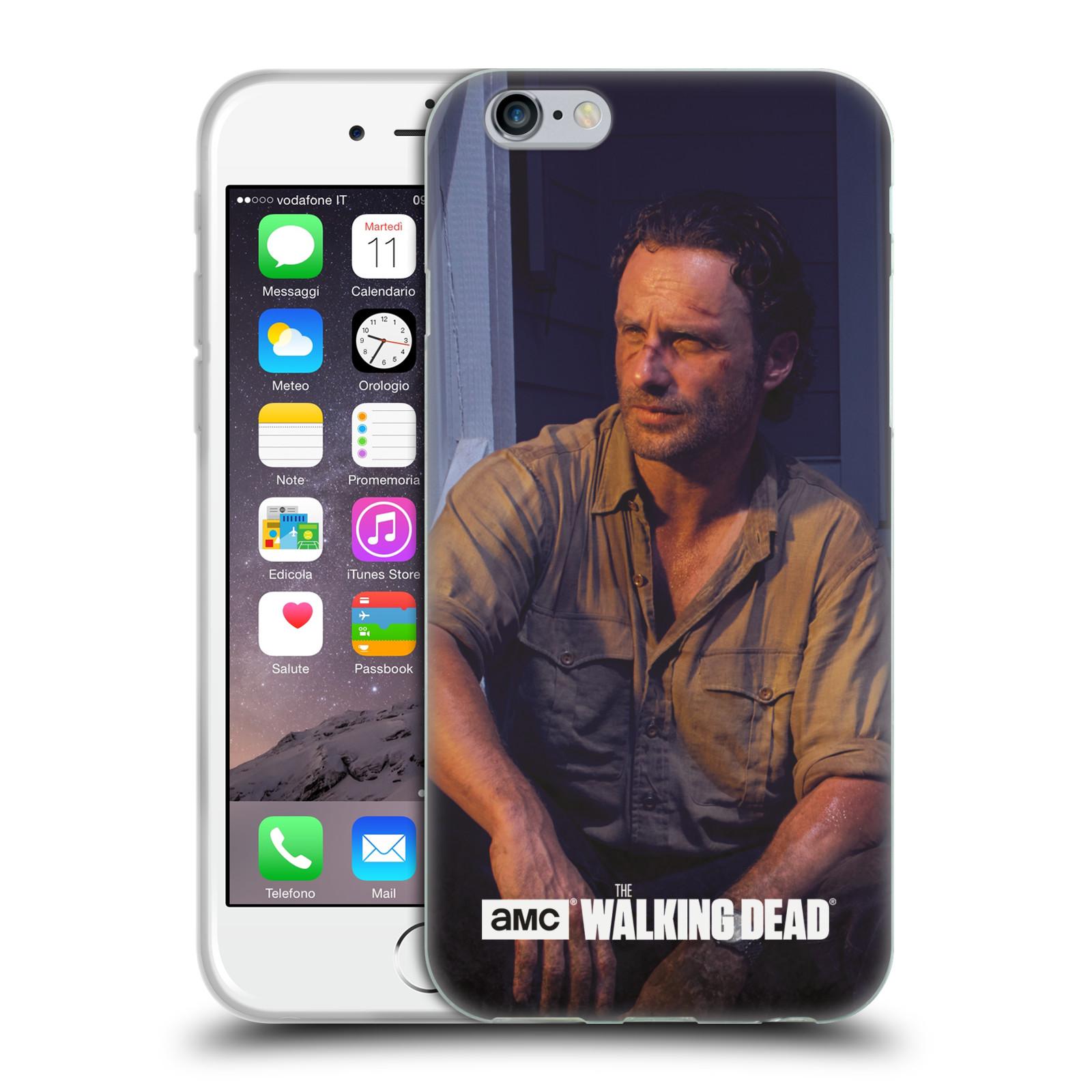 HEAD CASE silikonový obal na mobil Apple Iphone 6 / 6S originální potisk Walking Dead postavy v akci Rick