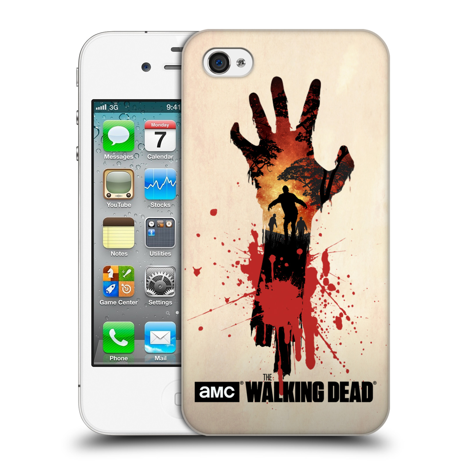 Pouzdro na mobil Apple Iphone 4/4S - HEAD CASE - Živí Mrtví silueta ruky