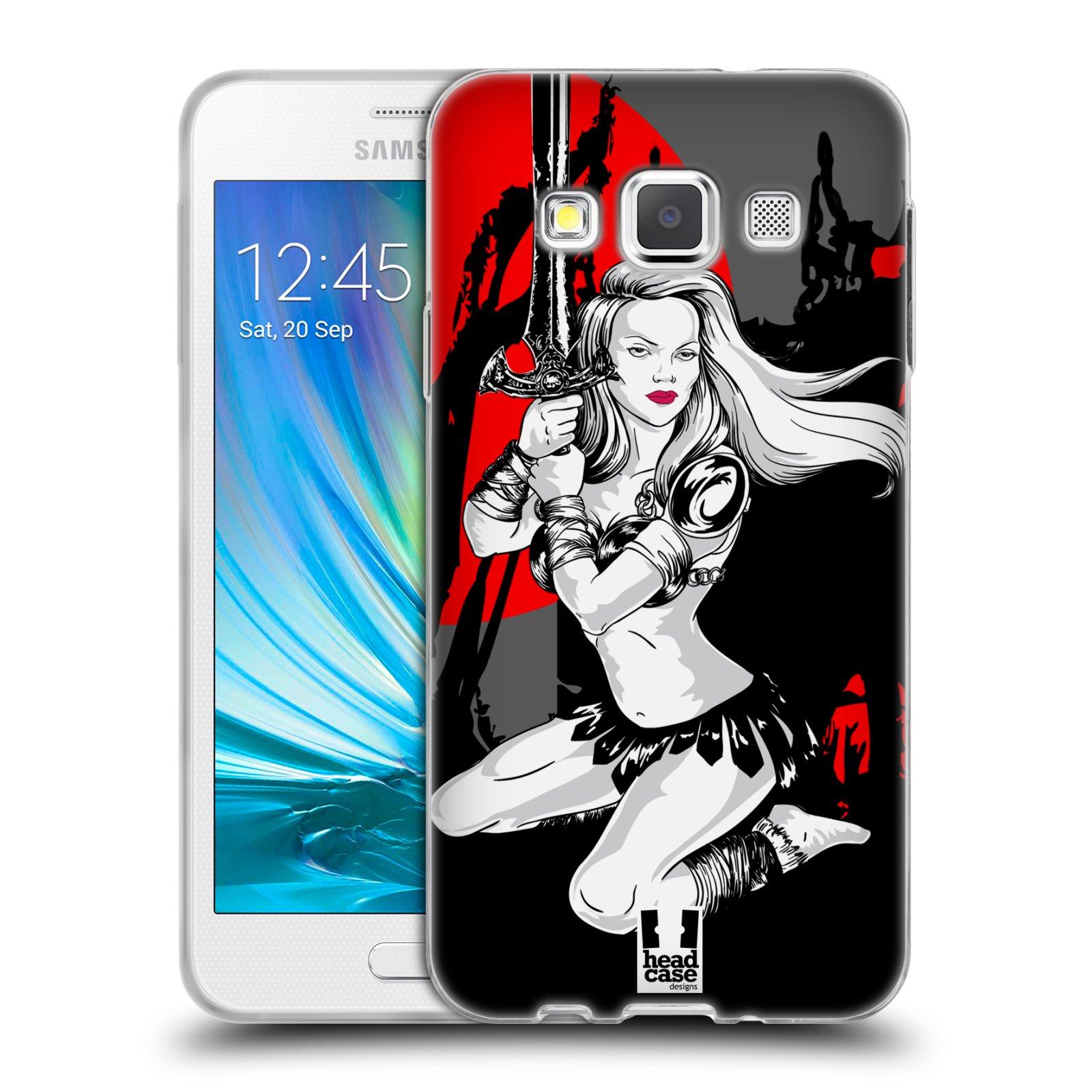 HEAD CASE silikonový obal na mobil Samsung Galaxy A3 vzor Komixové bojovnice AMAZONKA