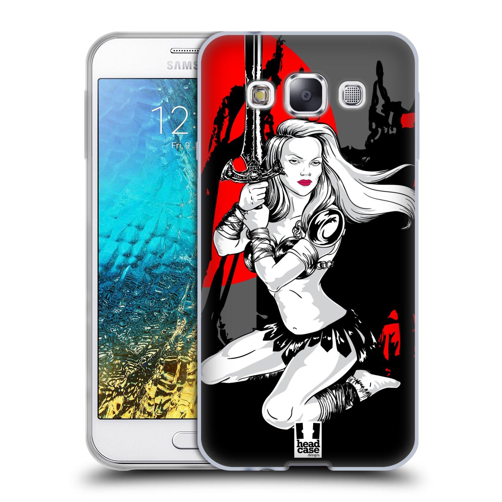 HEAD CASE silikonový obal na mobil Samsung Galaxy E5 vzor Komixové bojovnice AMAZONKA