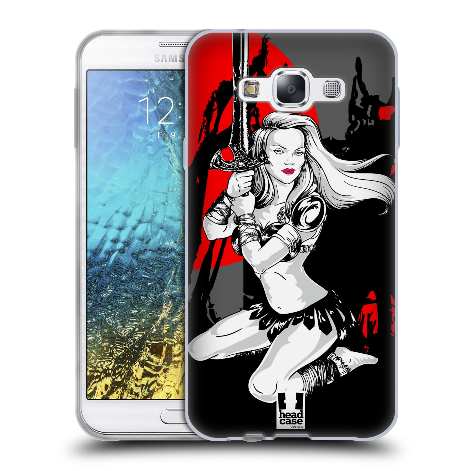 HEAD CASE silikonový obal na mobil Samsung Galaxy E7 vzor Komixové bojovnice AMAZONKA