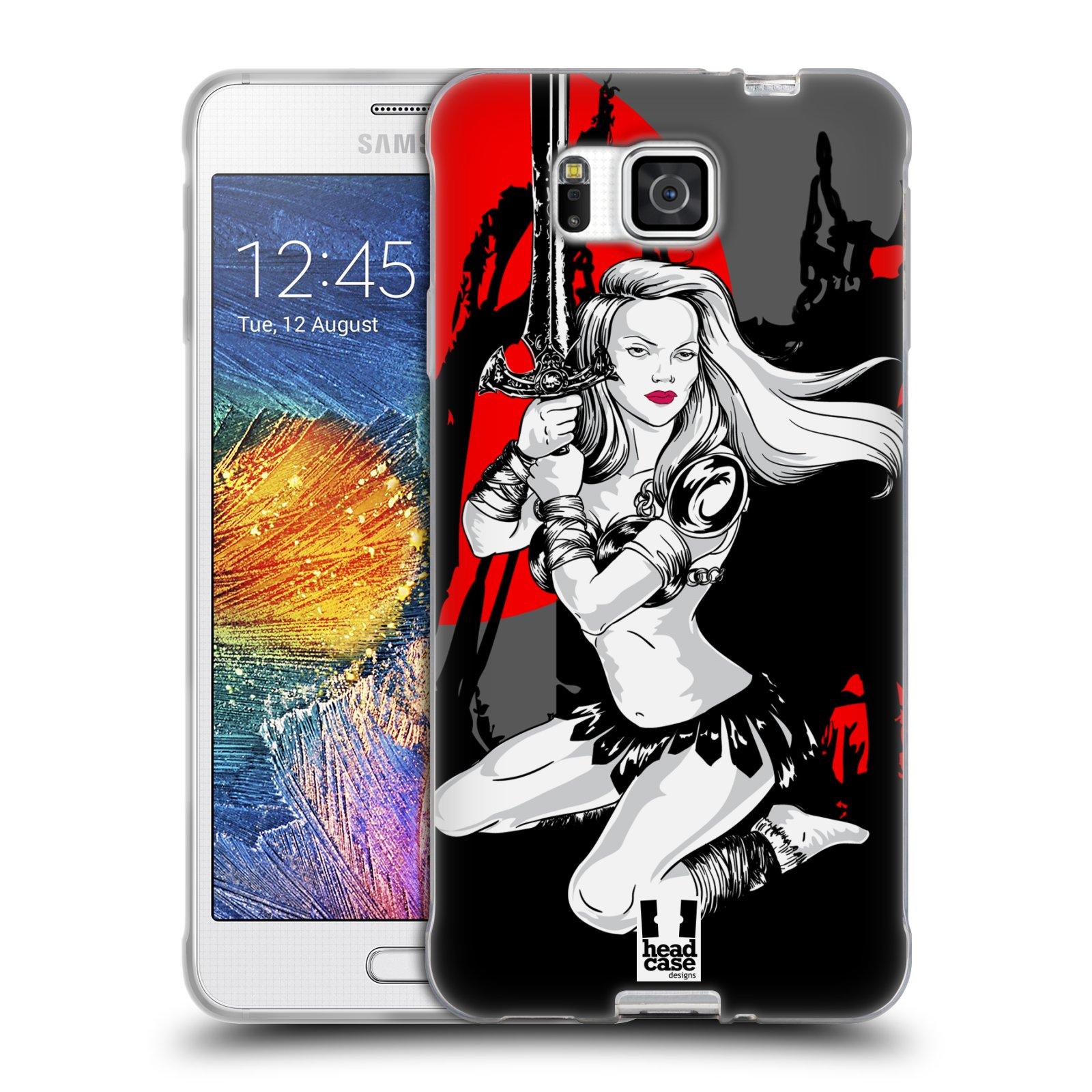 HEAD CASE silikonový obal na mobil Samsung Galaxy ALPHA vzor Komixové bojovnice AMAZONKA