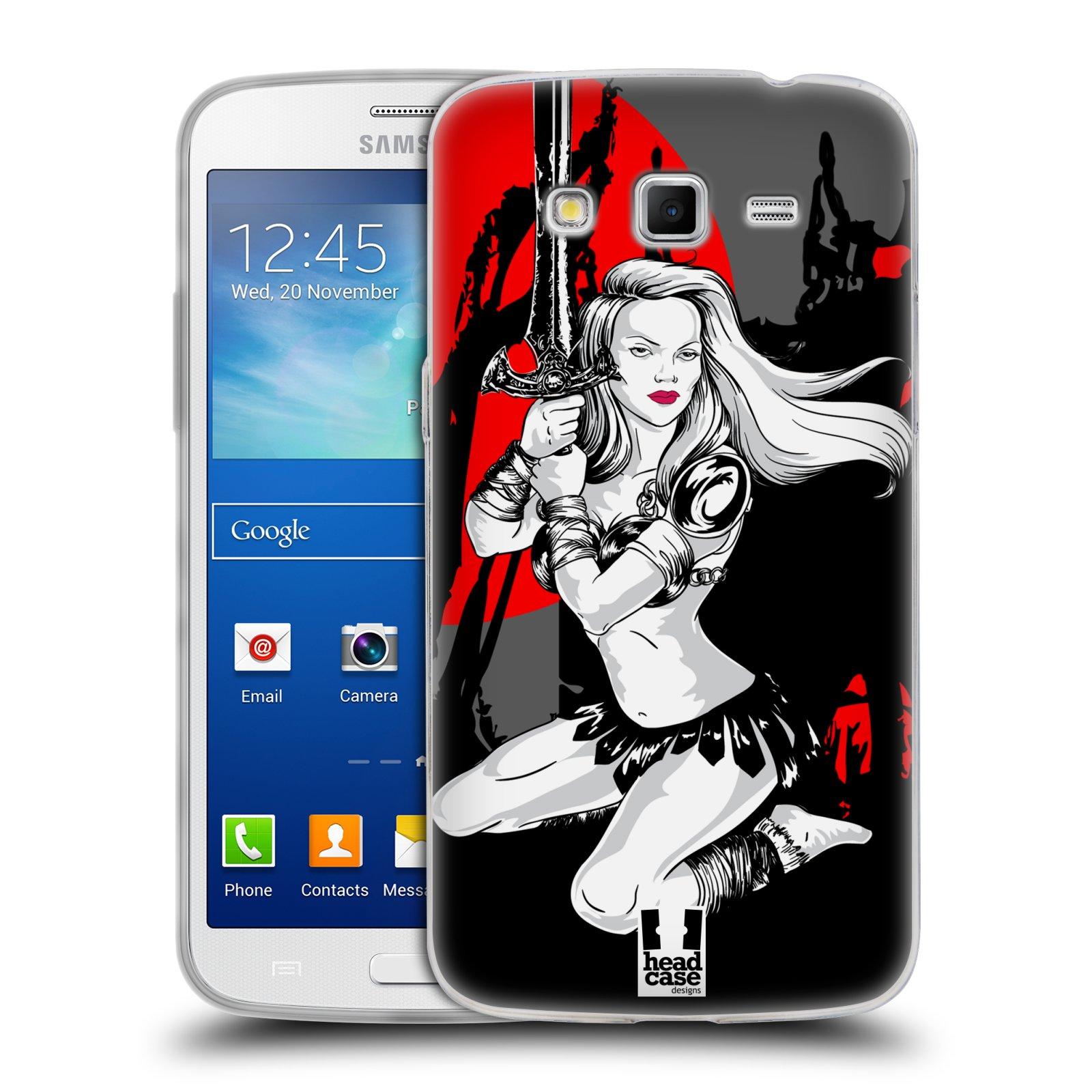 HEAD CASE silikonový obal na mobil Samsung Galaxy GRAND 2 vzor Komixové bojovnice AMAZONKA
