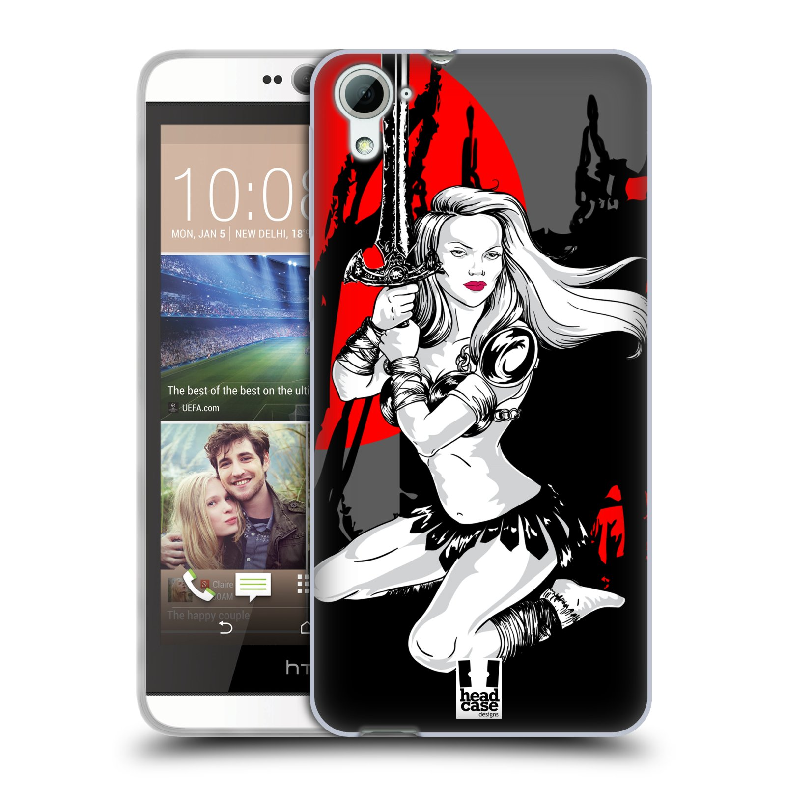 HEAD CASE silikonový obal na mobil HTC DESIRE 826 vzor Komixové bojovnice AMAZONKA