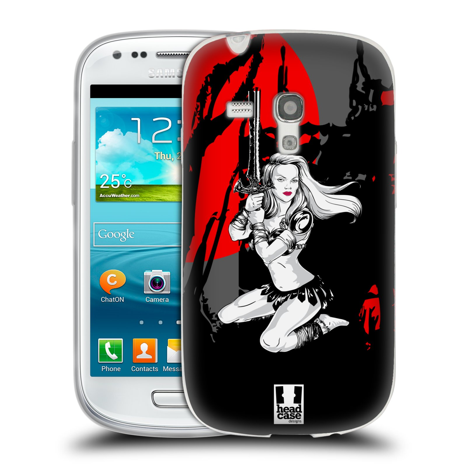 HEAD CASE silikonový obal na mobil Samsung Galaxy S3 MINI i8190 vzor Komixové bojovnice AMAZONKA