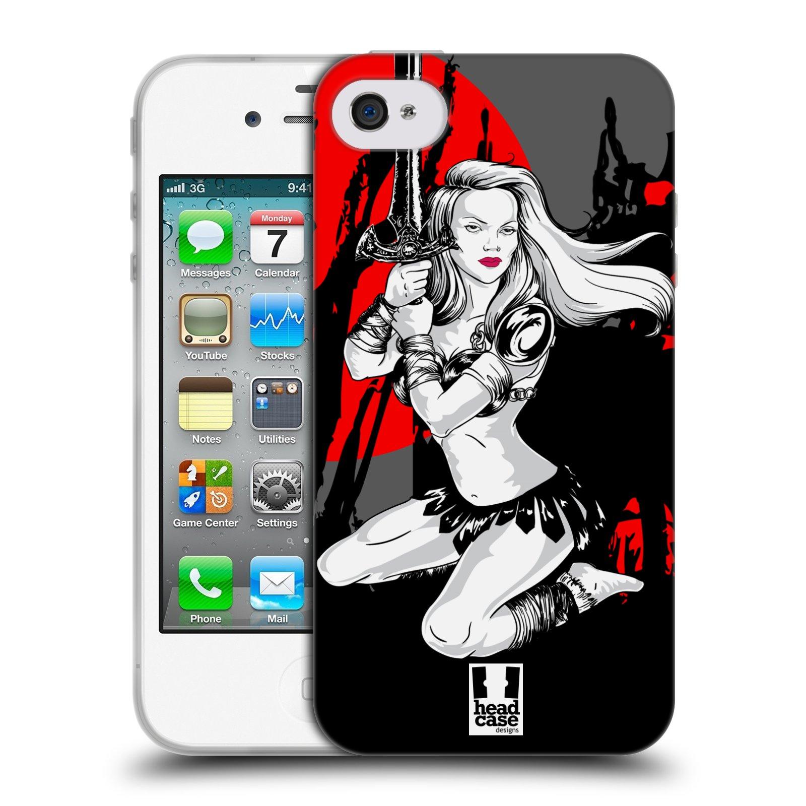 HEAD CASE silikonový obal na mobil Apple Iphone 4/4S vzor Komixové bojovnice AMAZONKA